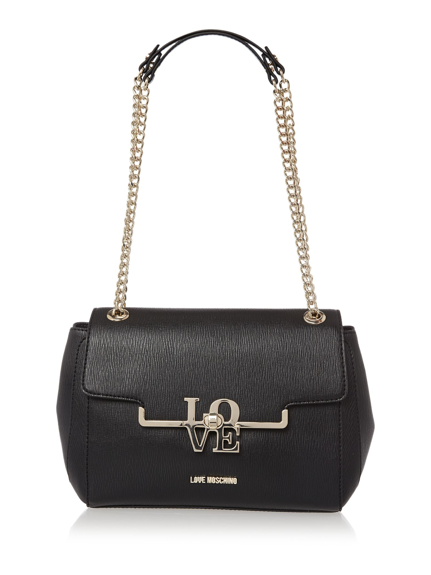 love moschino frame saffiano black chain shoulder bag in black lyst. Black Bedroom Furniture Sets. Home Design Ideas