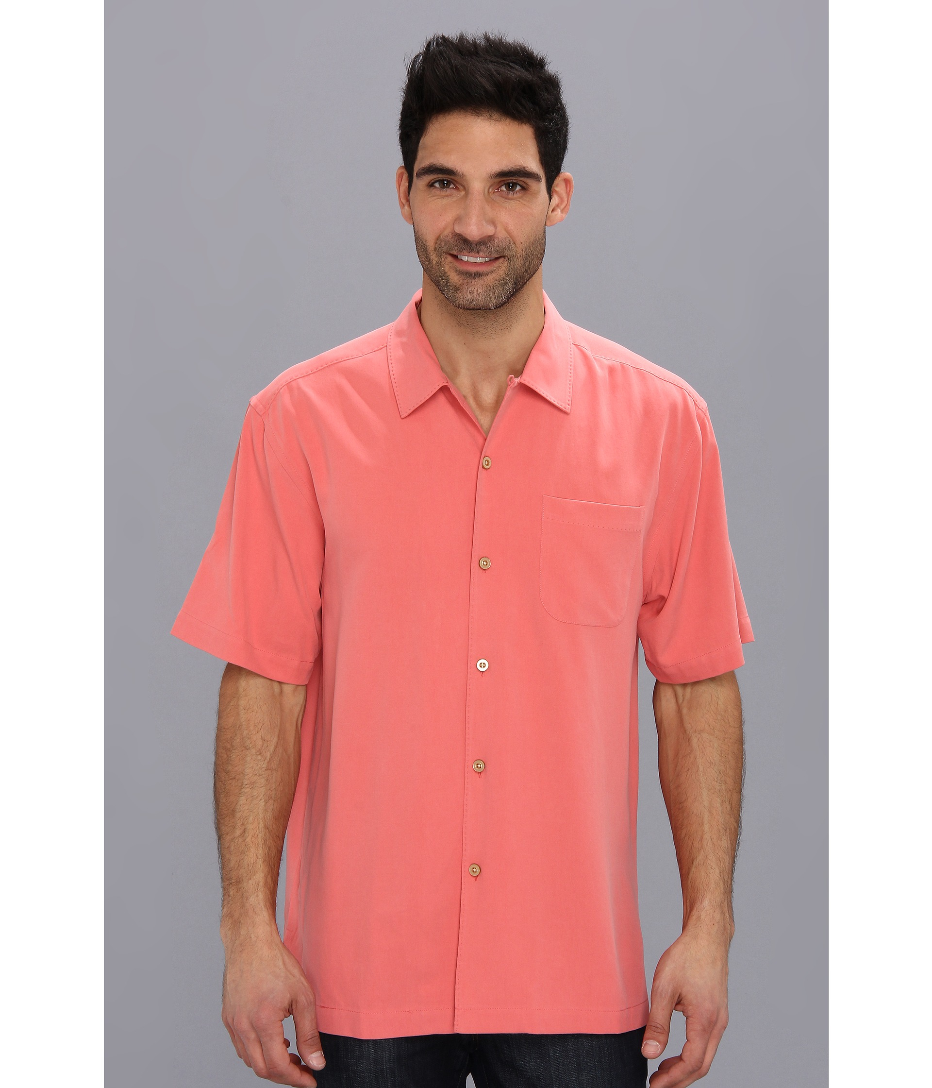 Tommy Bahama Catalina Twill Camp Shirt In Pink For Men