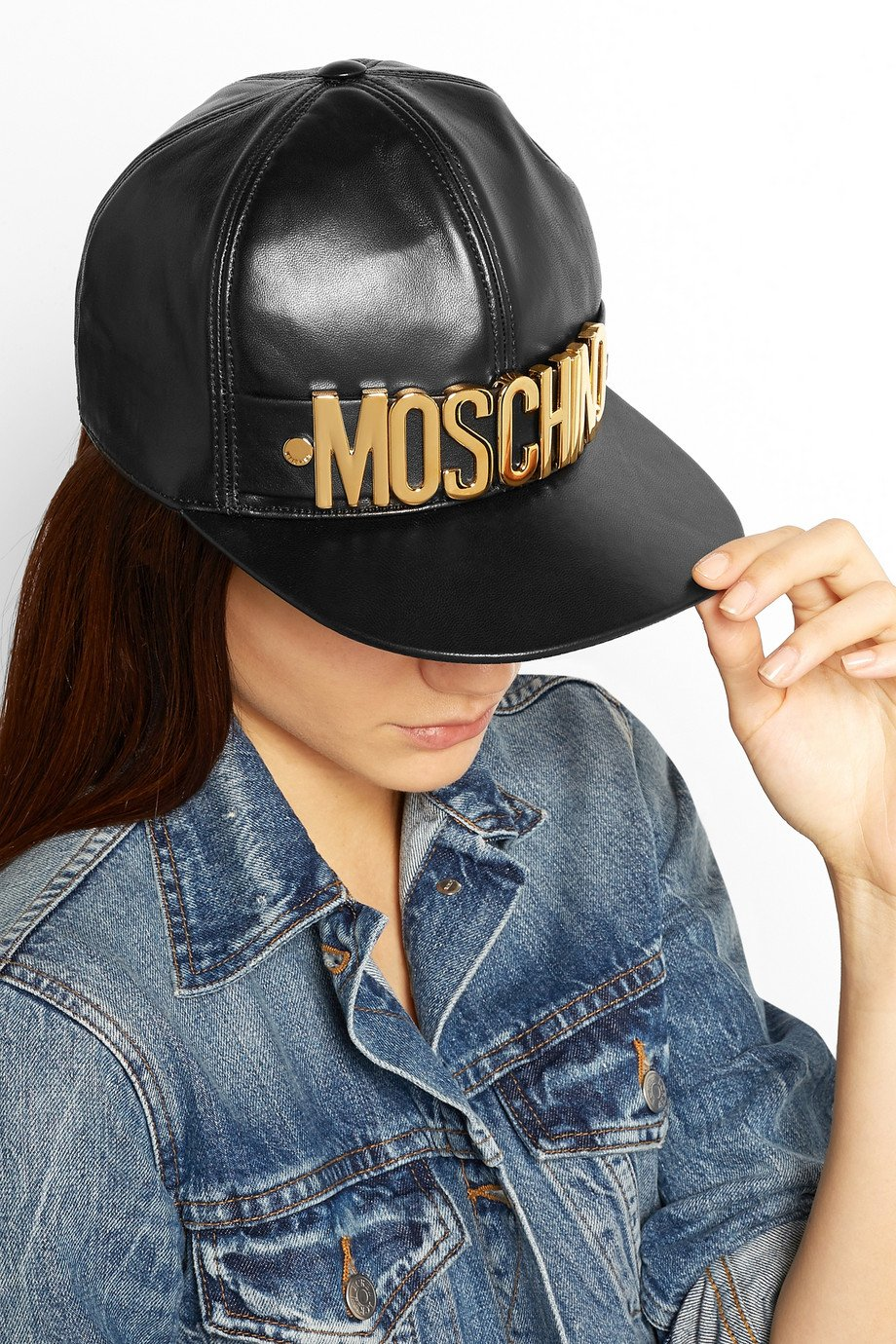 Lyst - Moschino Embellished Leather Cap in Black 460f639fbcbb