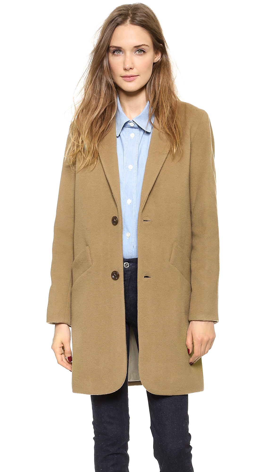 Lyst A P C Manteau Chesterfield Coat Tabac In Natural