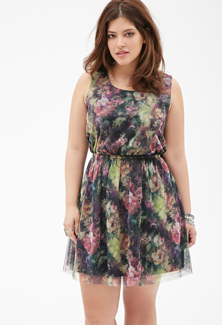 0b1a93917ff7 Lyst - Forever 21 Plus Size Floral Print Mesh Dress