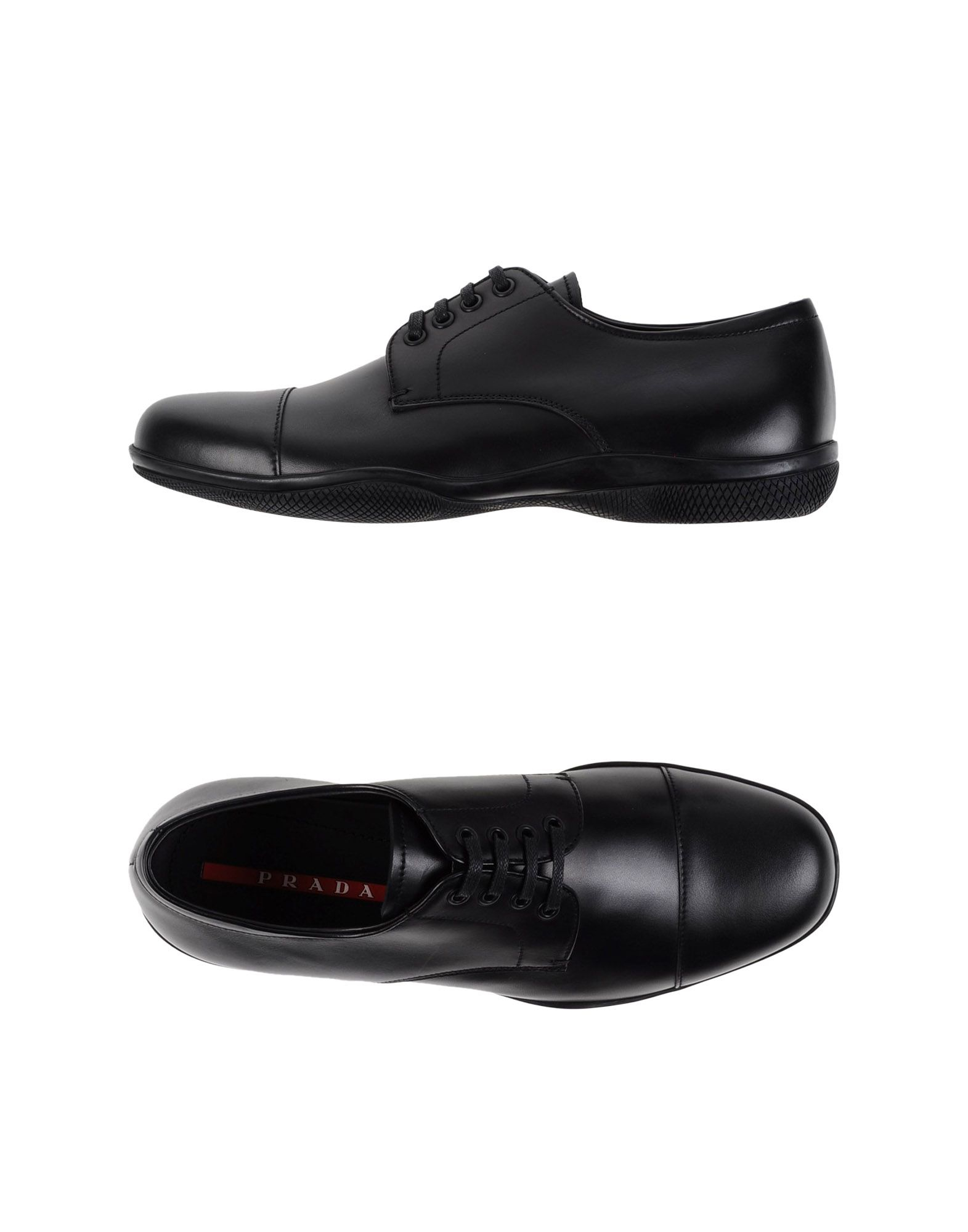 prada sport lace up shoes in black for lyst