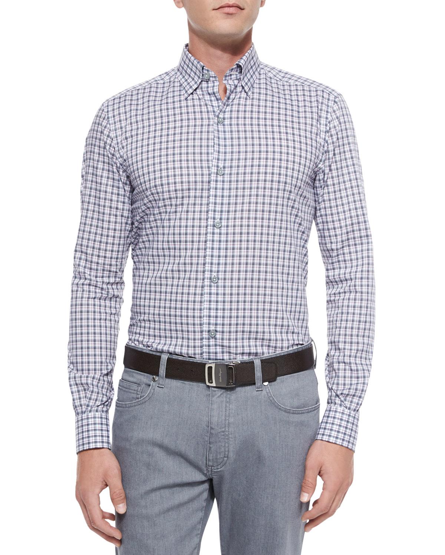 ermenegildo zegna check print woven sport shirt in gray for men lyst. Black Bedroom Furniture Sets. Home Design Ideas