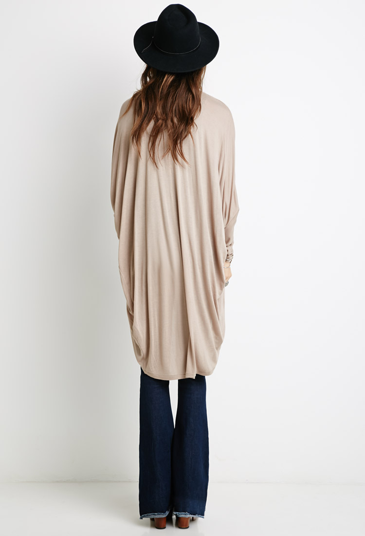 Forever 21 Longline Dolman Cardigan in Natural | Lyst