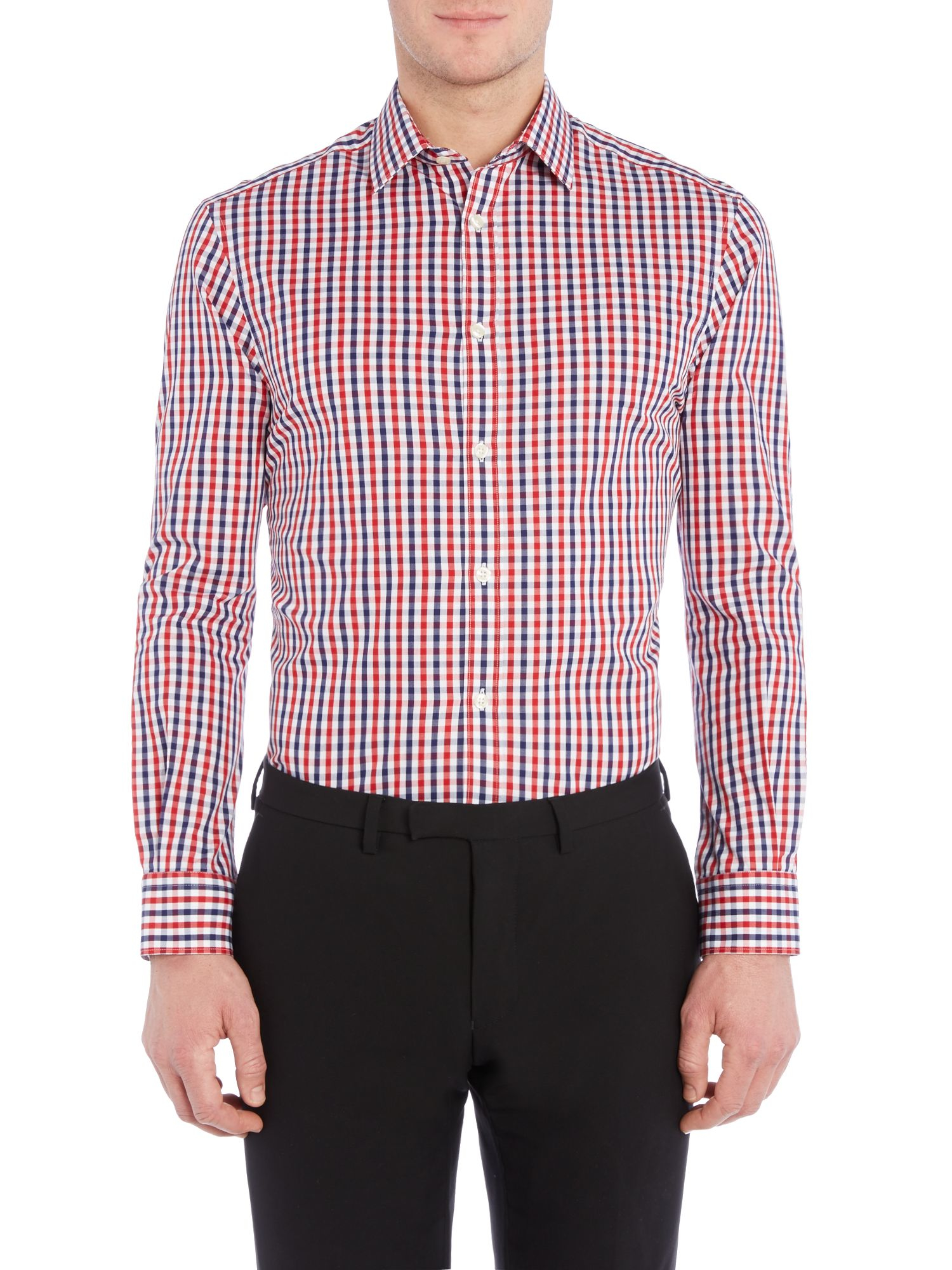 Howick Foxborough Large Check Slim Fit Shirt In Red For