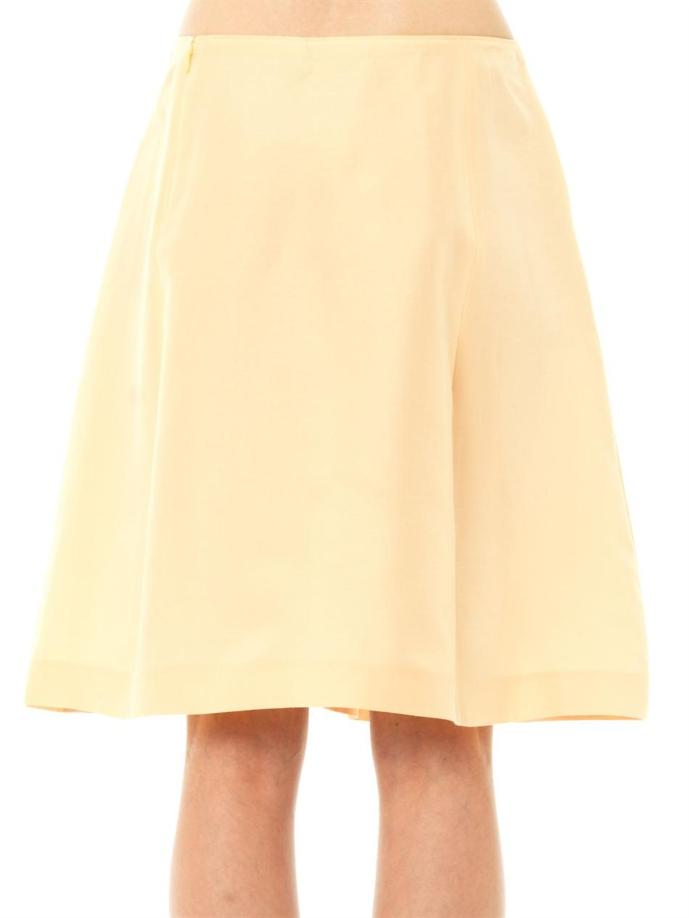 Jil sander navy Cotton A-line Skirt in Yellow | Lyst