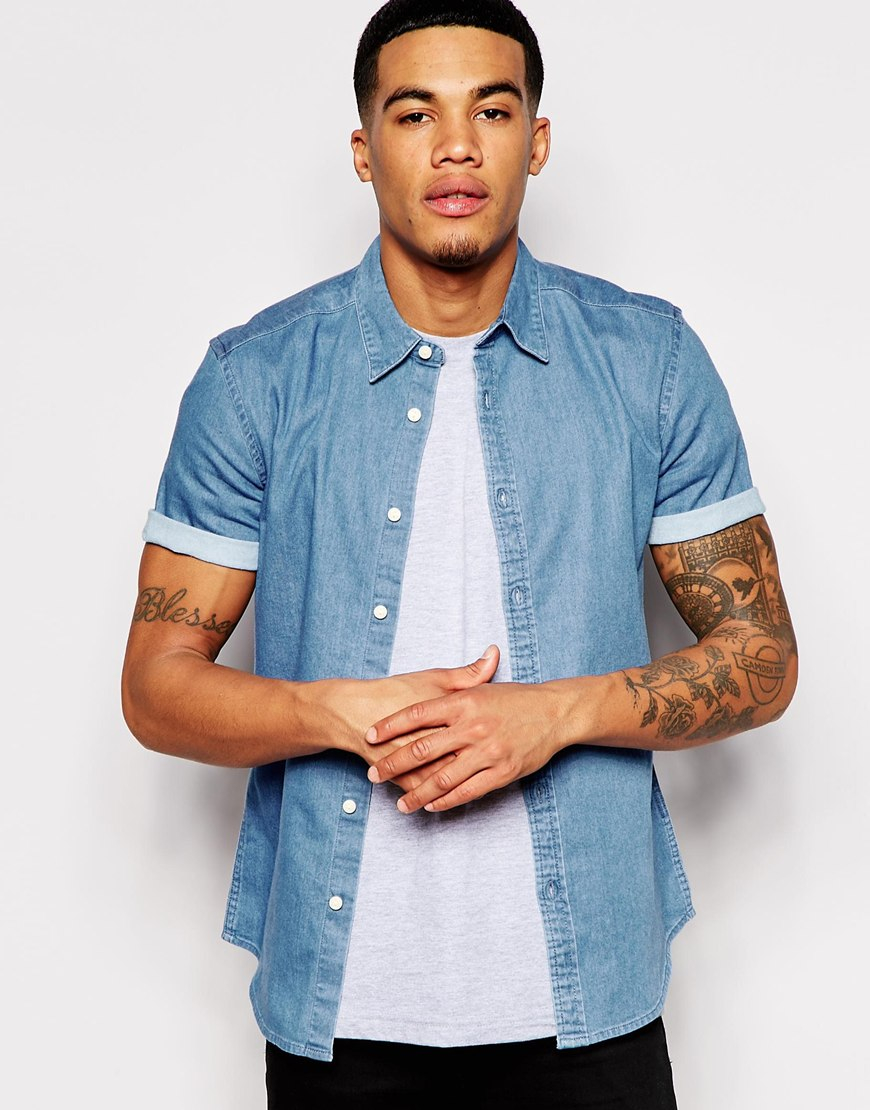 Asos Super Skinny Denim Shirt With Short Sleeves In Mid Wash in ...
