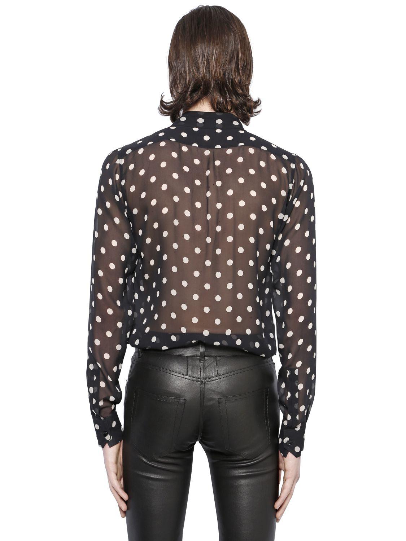1b47963fad4018 Lyst - Saint Laurent Polka Dot Printed Silk Georgette Shirt in Black ...