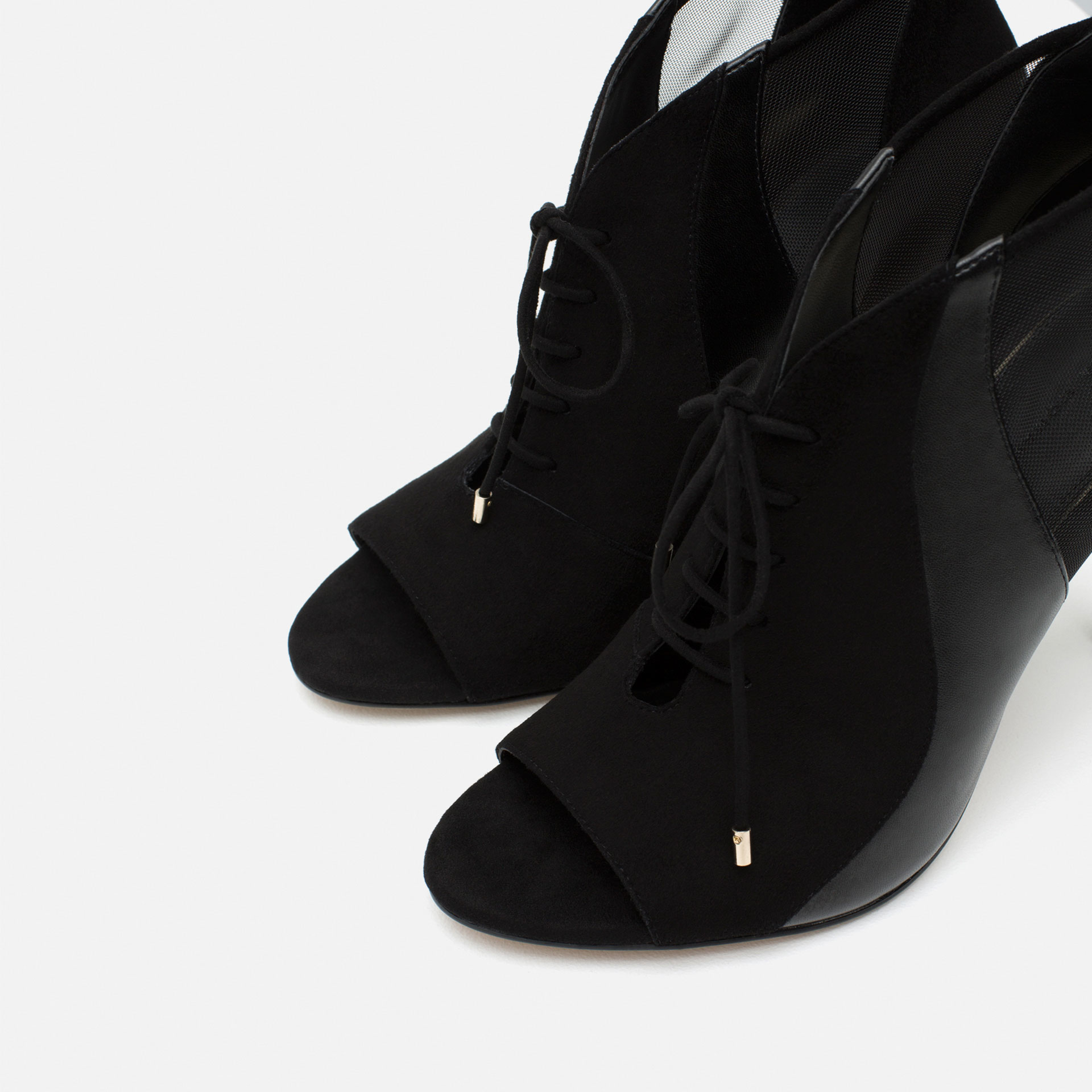 zara lace up leather high heel ankle boots in black lyst