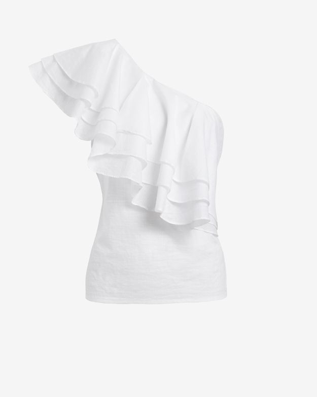 6dcc374382362d Designers Remix One Shoulder Ruffle Top in White - Lyst