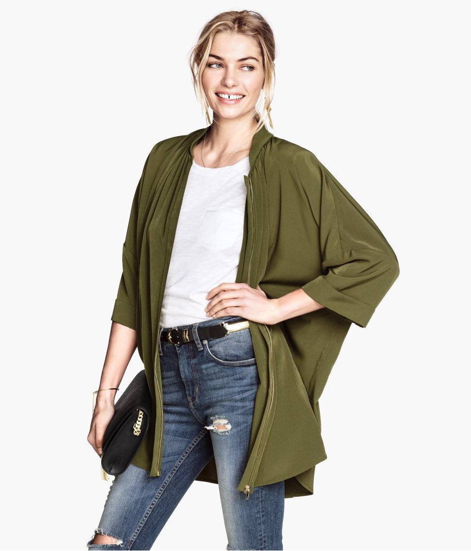 Hu0026m Oversized Jacket In Green | Lyst
