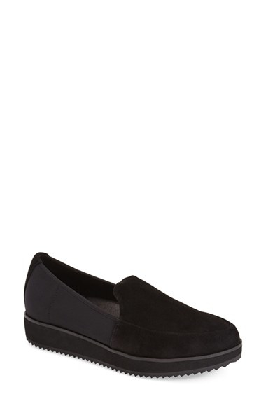 93aa2b2d02c Lyst - Eileen Fisher Dell Suede Loafers in Black