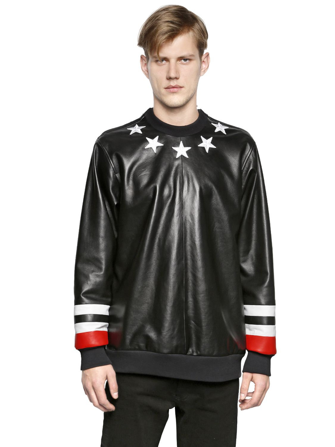 Lyst Givenchy Stars Amp Stripes Nappa Leather Sweatshirt