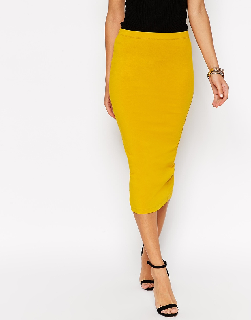 Asos Midi Pencil Skirt In Jersey in Yellow | Lyst