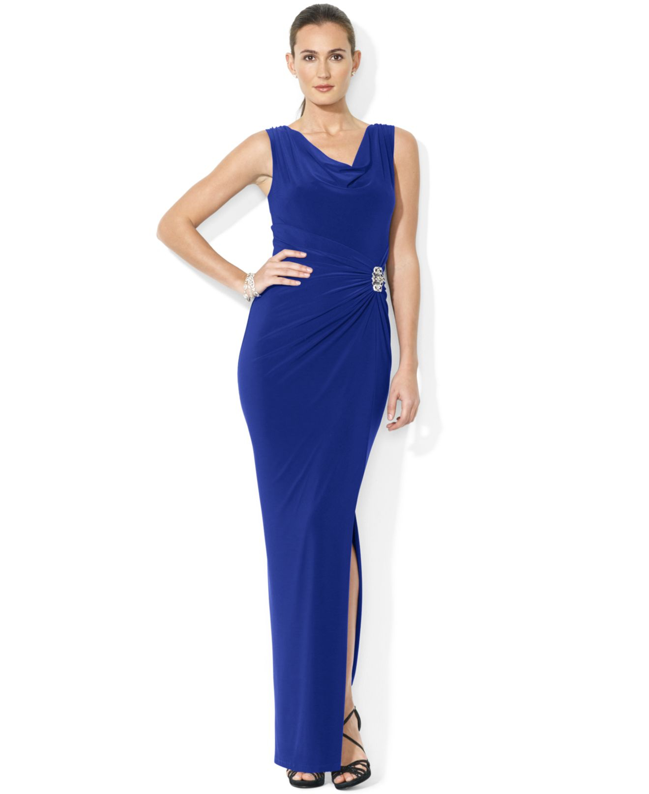 4d00ef4555d Lauren by Ralph Lauren Sleeveless Jersey Cowl-Neck Gown in Blue - Lyst