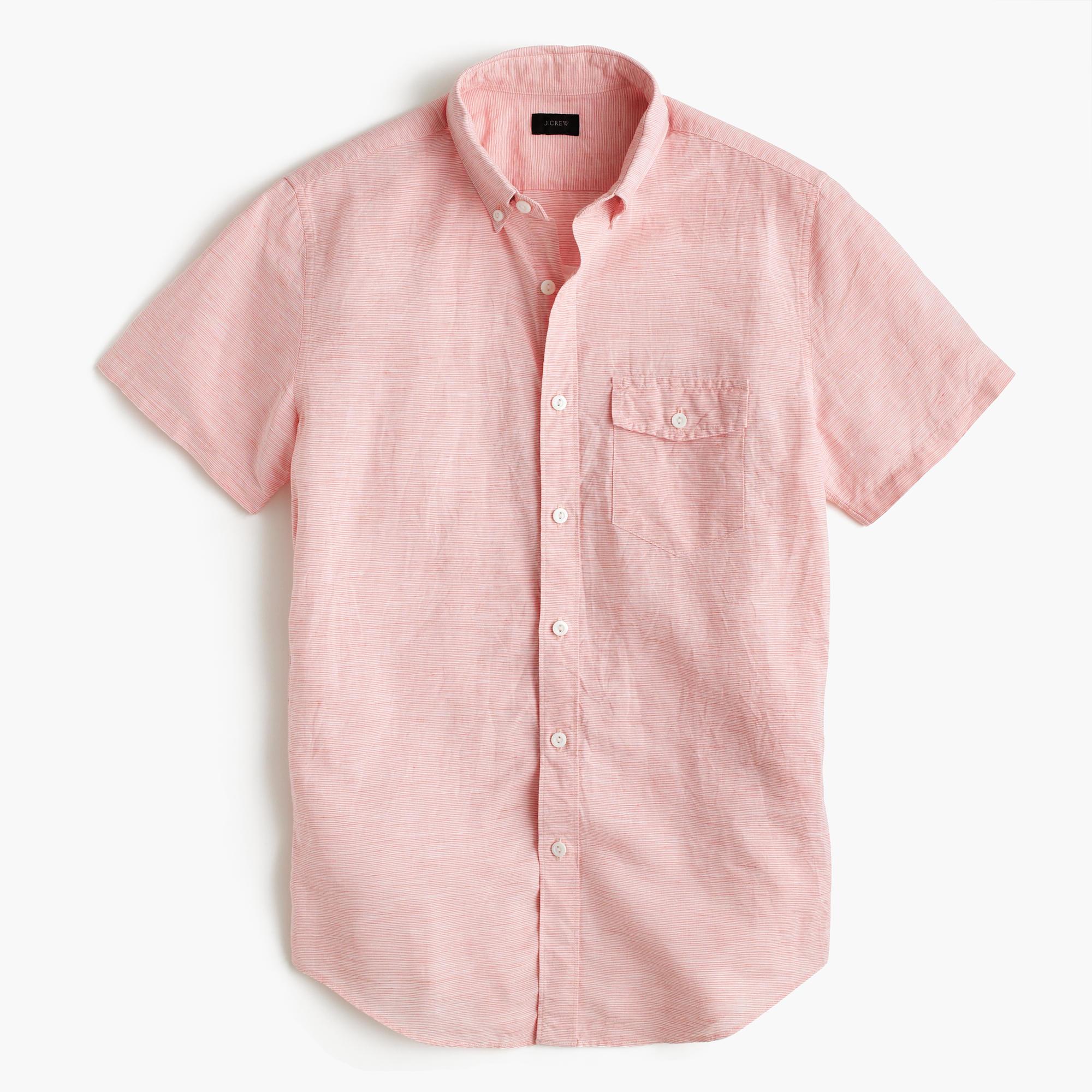 Short sleeve shirt in striped irish cotton linen in for Mens coral short sleeve dress shirt