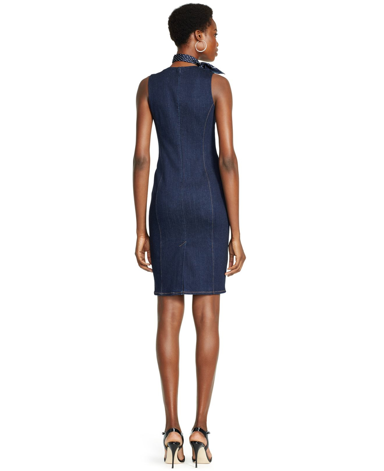 Polo ralph lauren Denim Sheath Dress in Black | Lyst