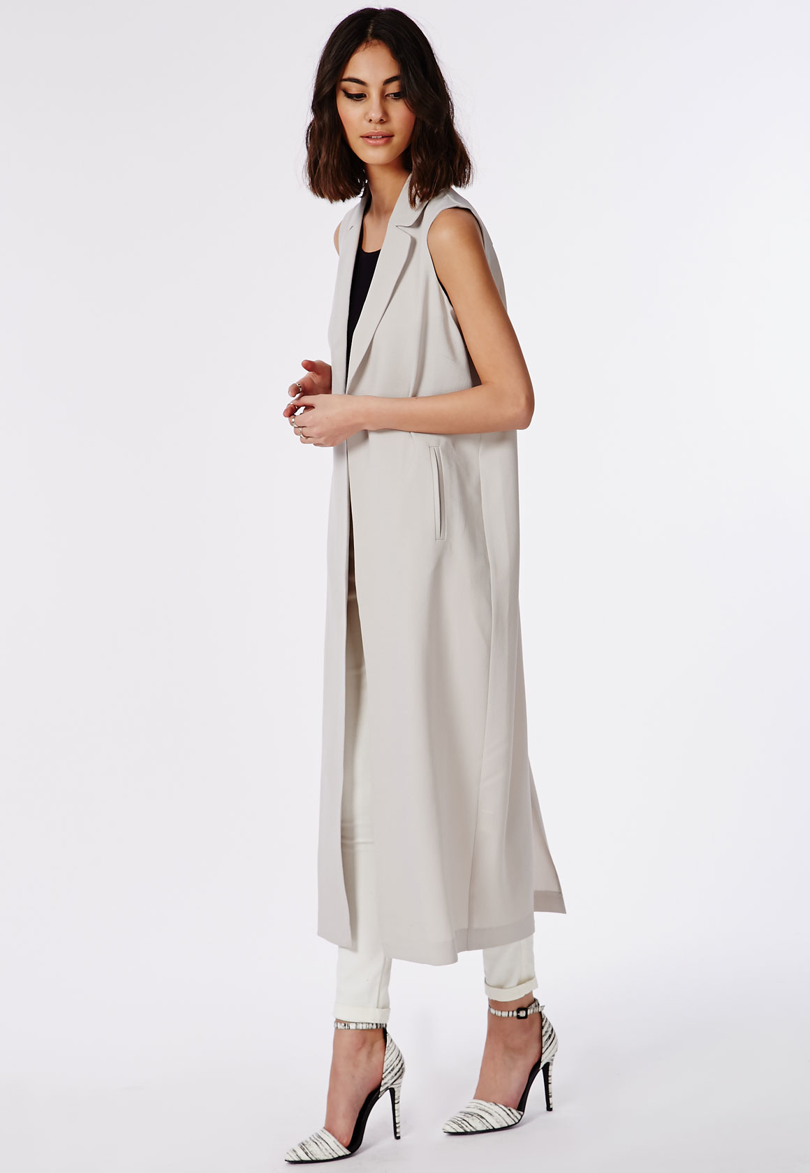 Missguided Maxi Sleeveless Duster Coat Grey In Gray Lyst