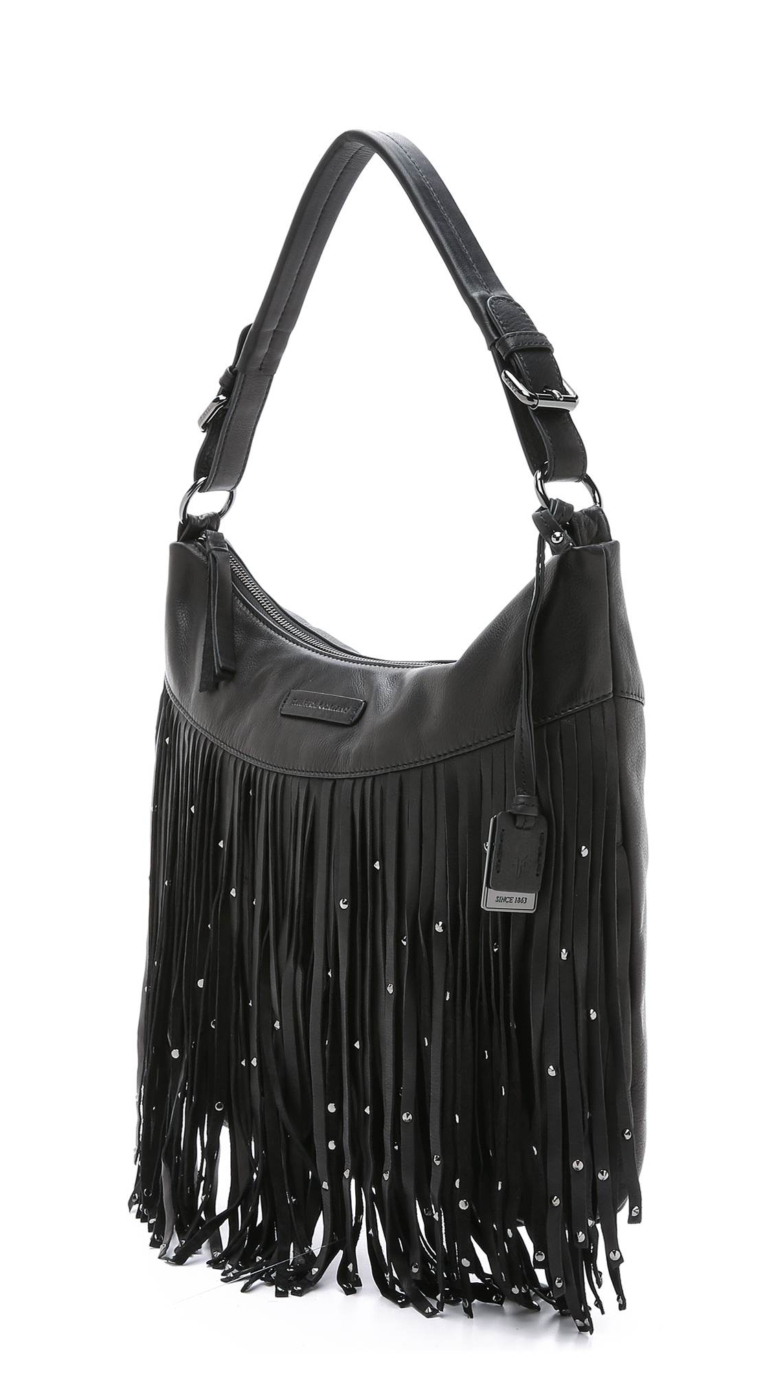 Frye Heidi Stud Fringe Hobo Bag - Black in Black | Lyst