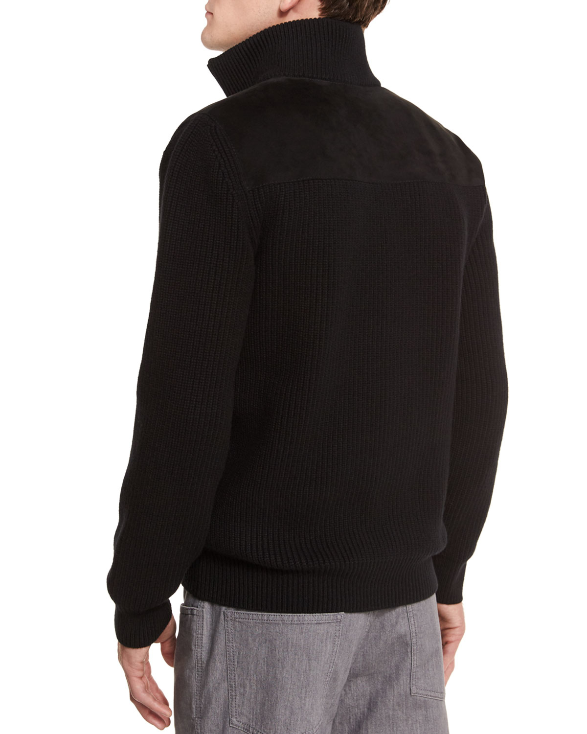 Brioni Half-zip Pullover Sweater With Suede Trim in Black for Men ...