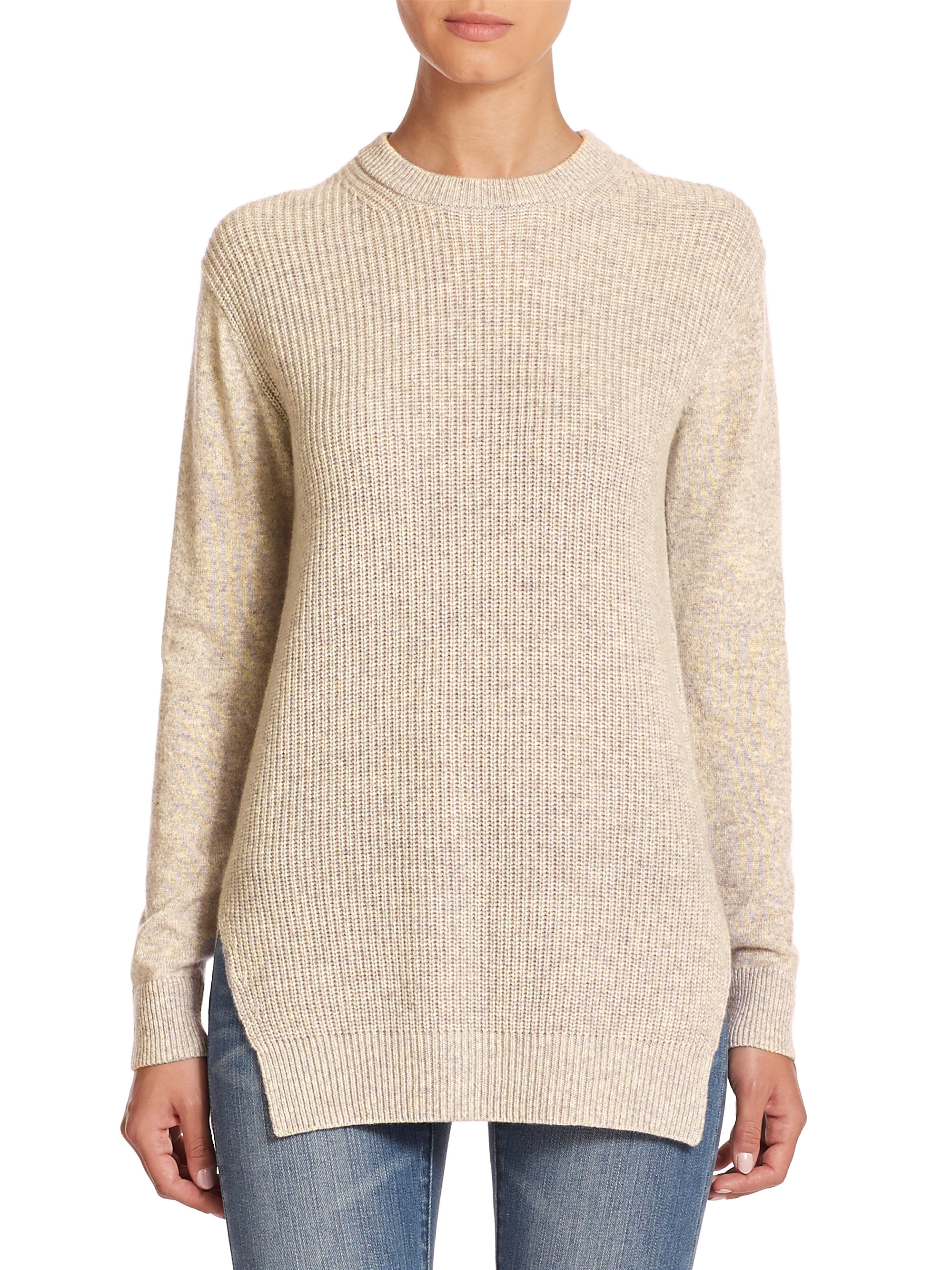 Lyst - MICHAEL Michael Kors Shaker-knit Cashmere Sweater in Natural 685b0bf58