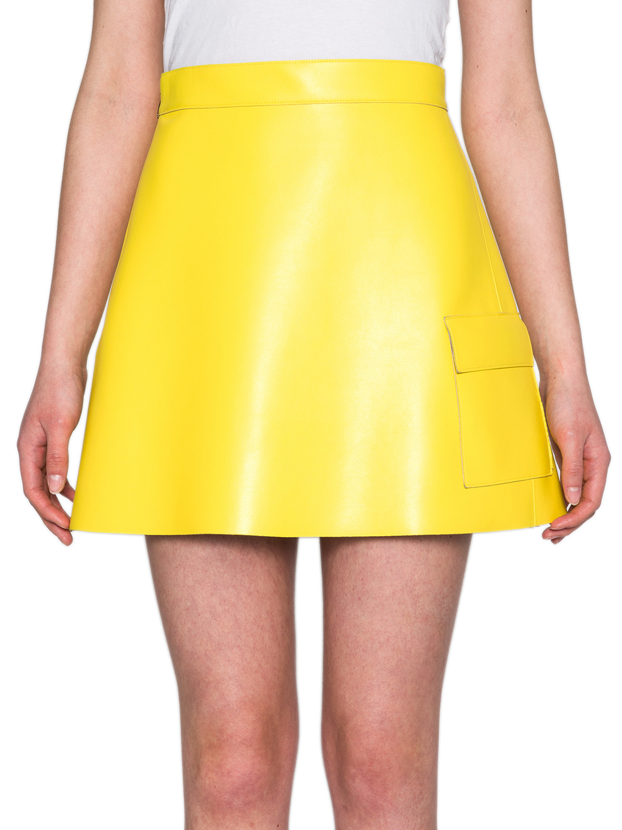 Msgm Faux Leather A-line Mini Skirt in Yellow | Lyst