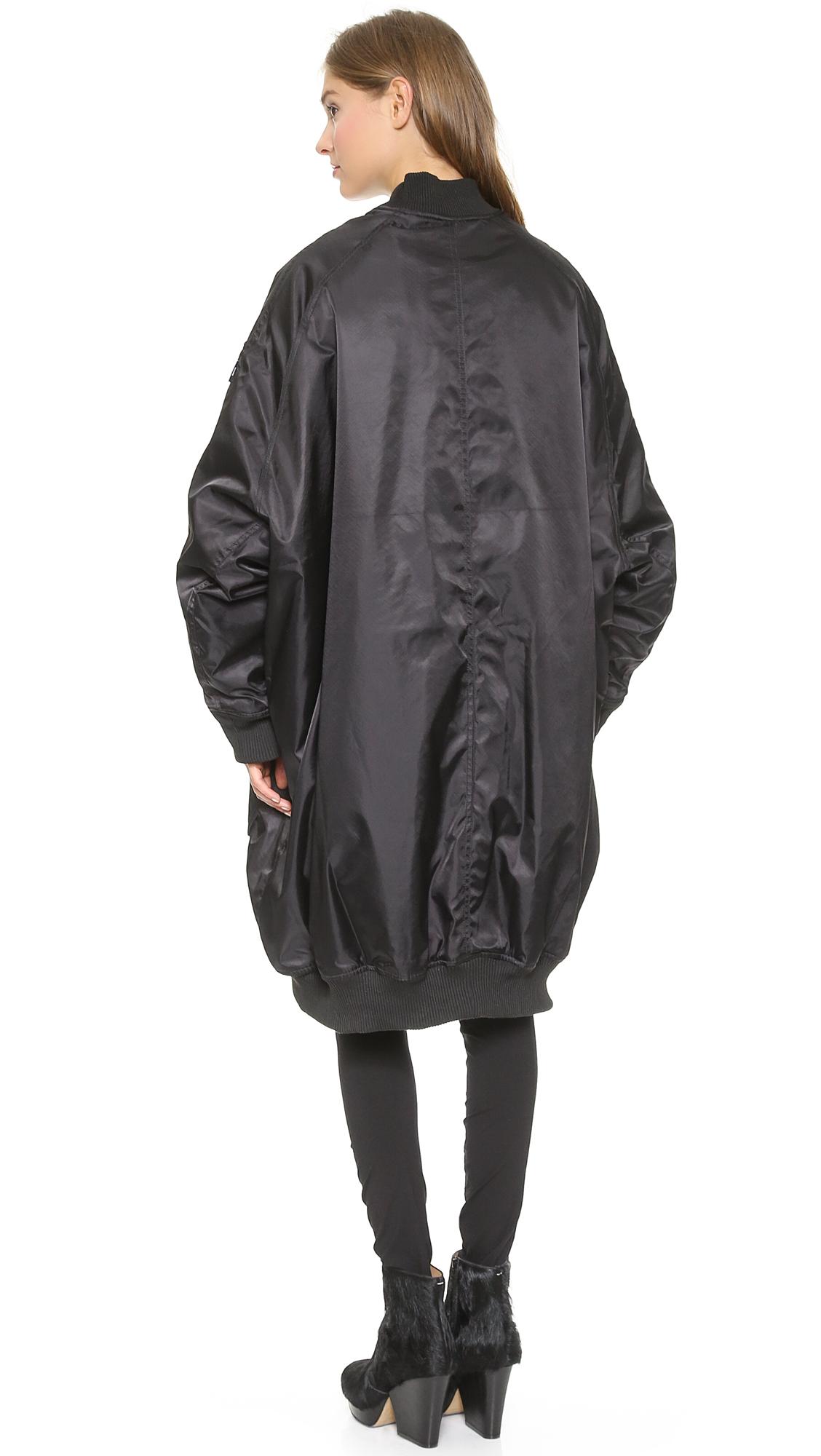 Ktz Oversized Bomber Jacket Black in Black | Lyst