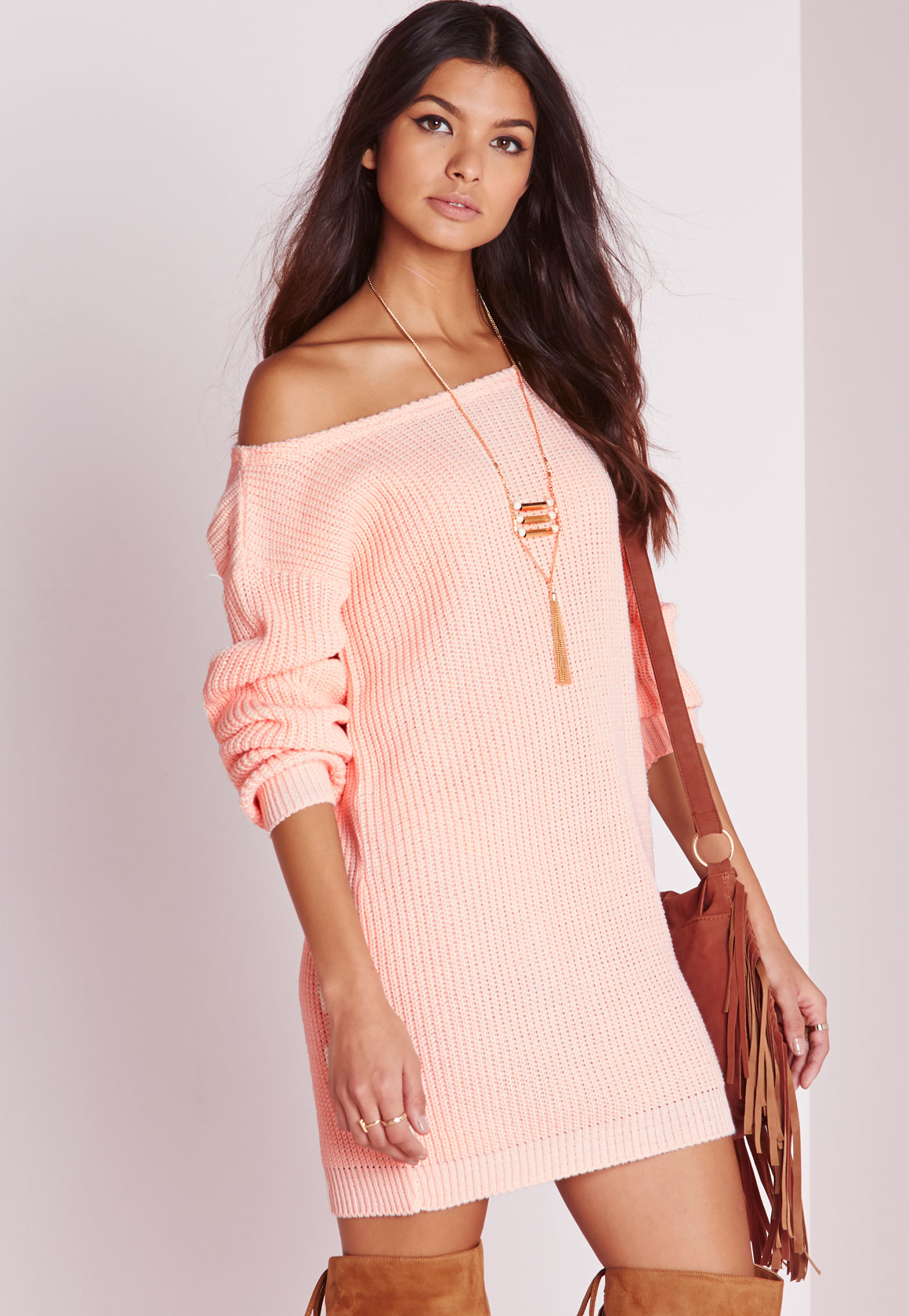 Missguided Off Shoulder Knitted Jumper Dress Pink in Pink  Lyst