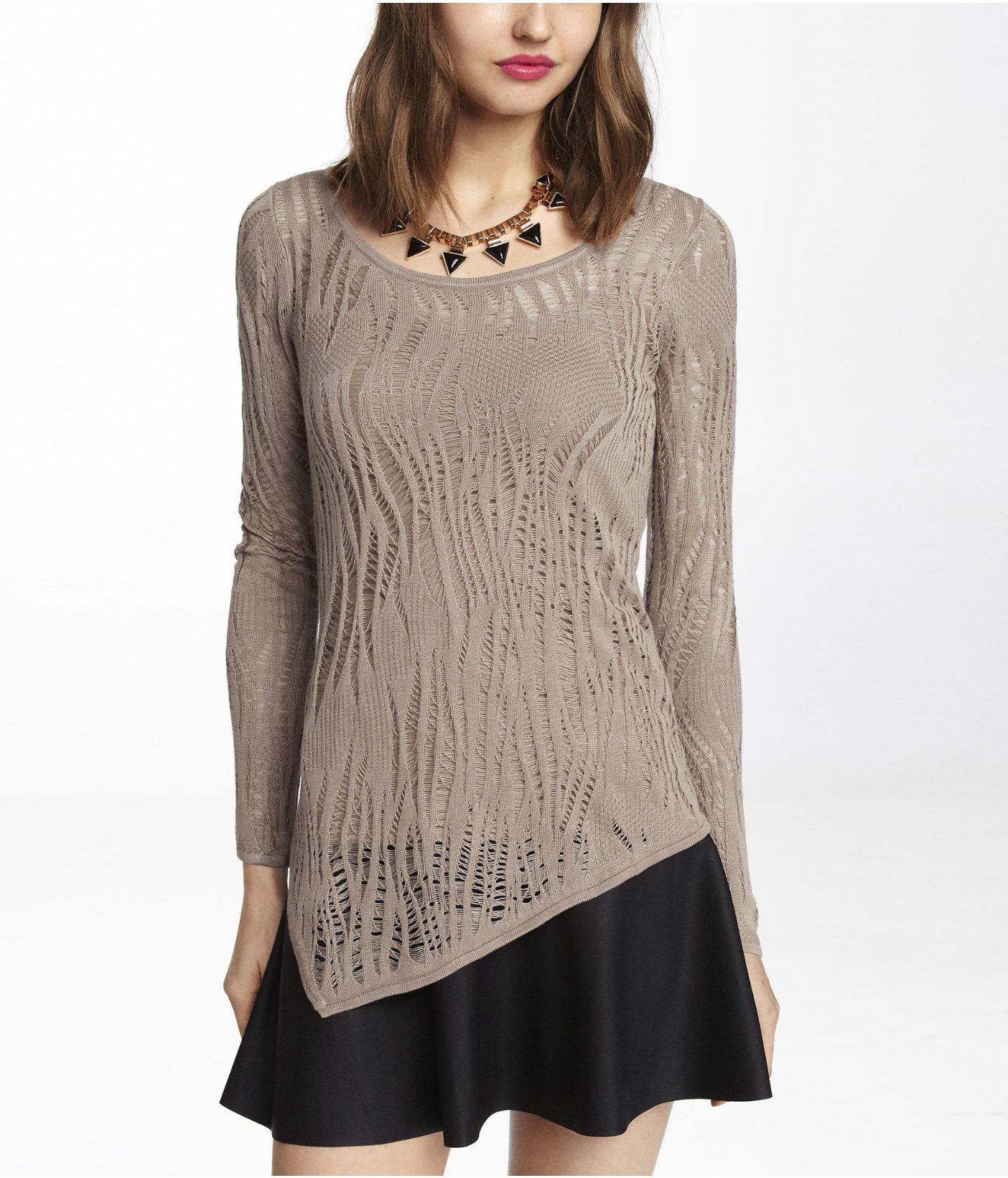 Express Lace Stitch Asymmetrical Hem Tunic Sweater in Gray | Lyst