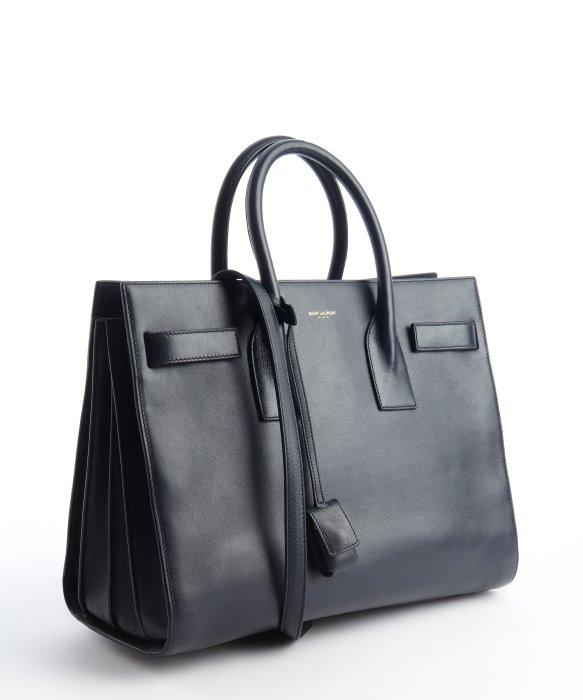 yves saint laurent cassandre bag - classic small sac de jour bag in royal blue crocodile embossed leather
