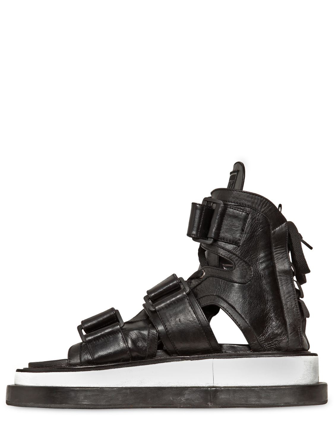 Ktz Gladiator Leather Sandals In Black For Men Lyst