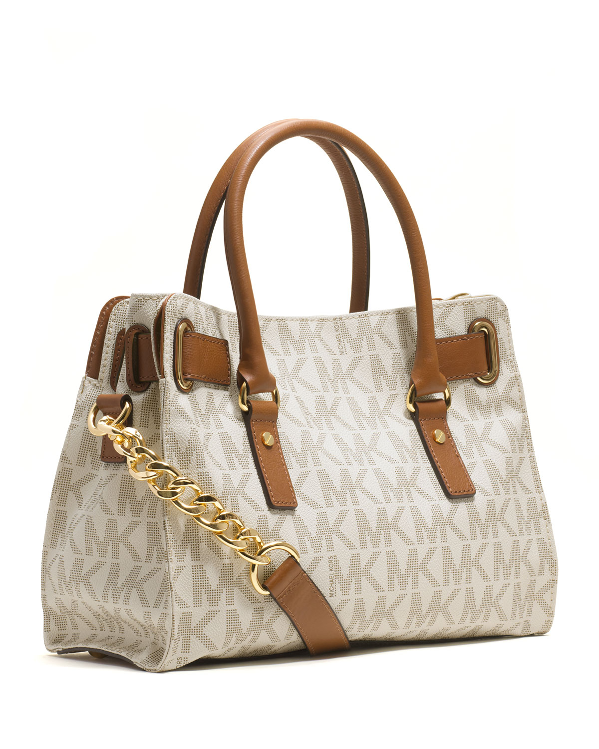 79bc1c5055af ... canada lyst michael michael kors hamilton logo satchel bag in brown  c9be8 8a9cd
