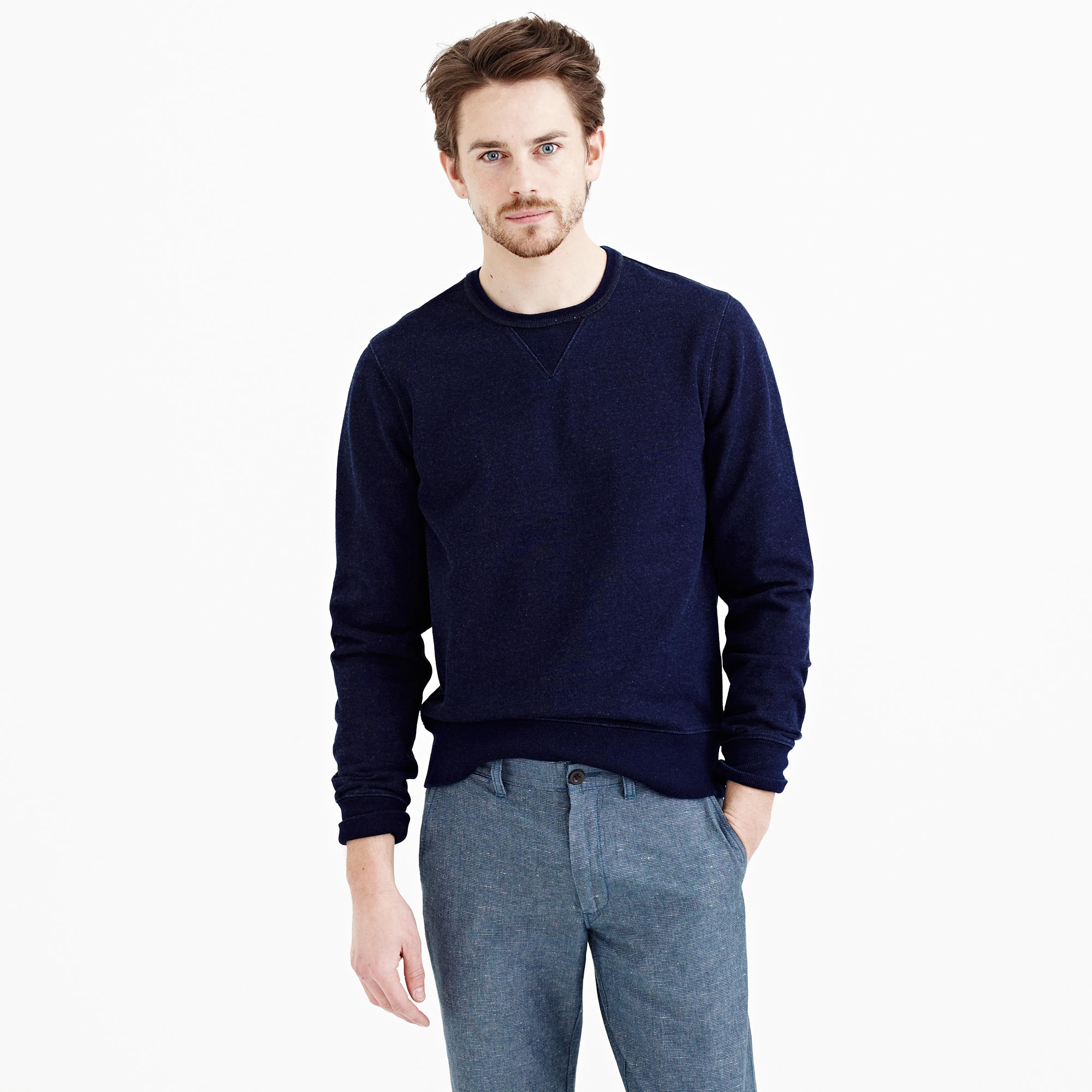 Wallace barnes indigo sweatshirt in blue for men for J crew mens outfits