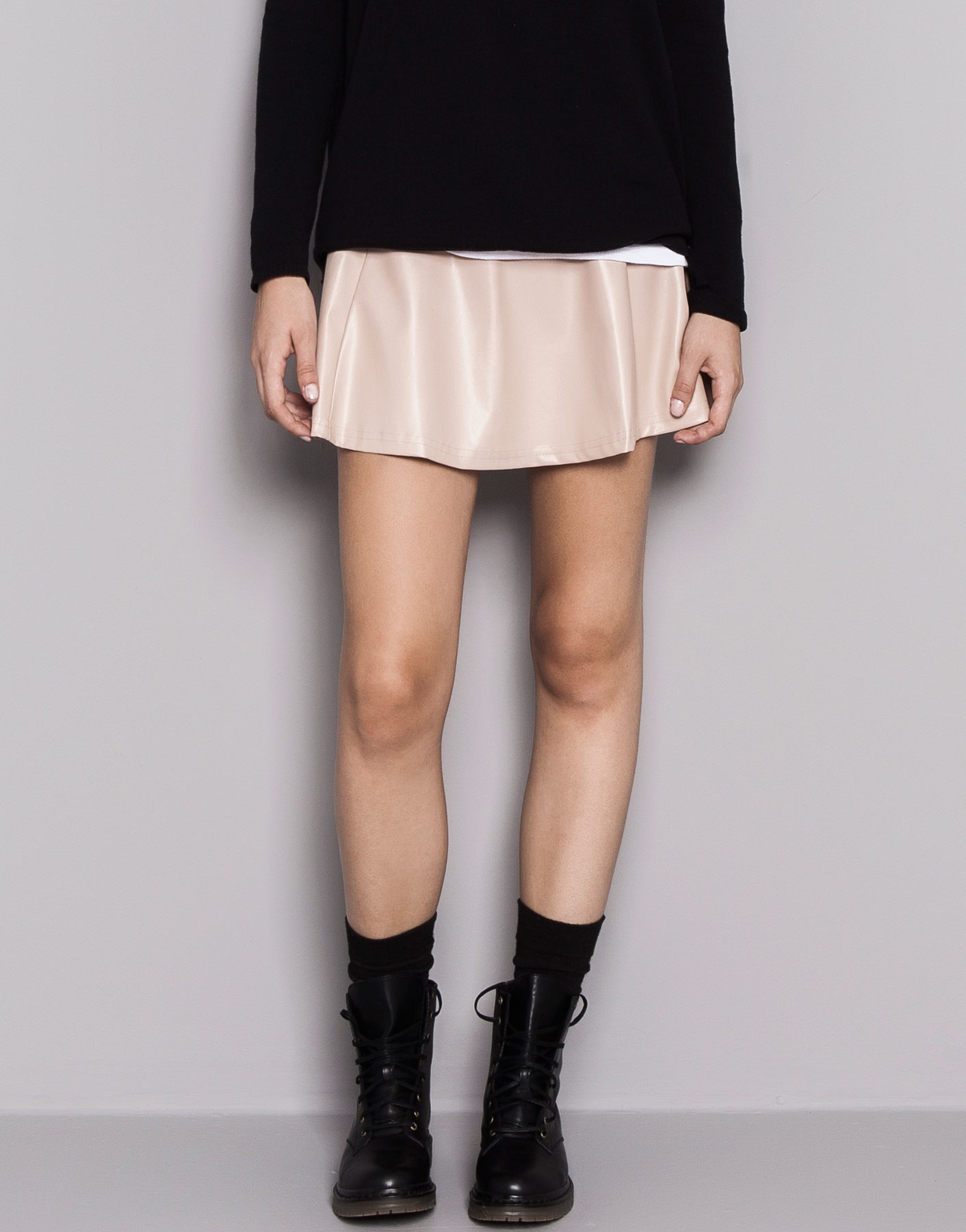 pull basic faux leather skirt in pink dusty pink lyst