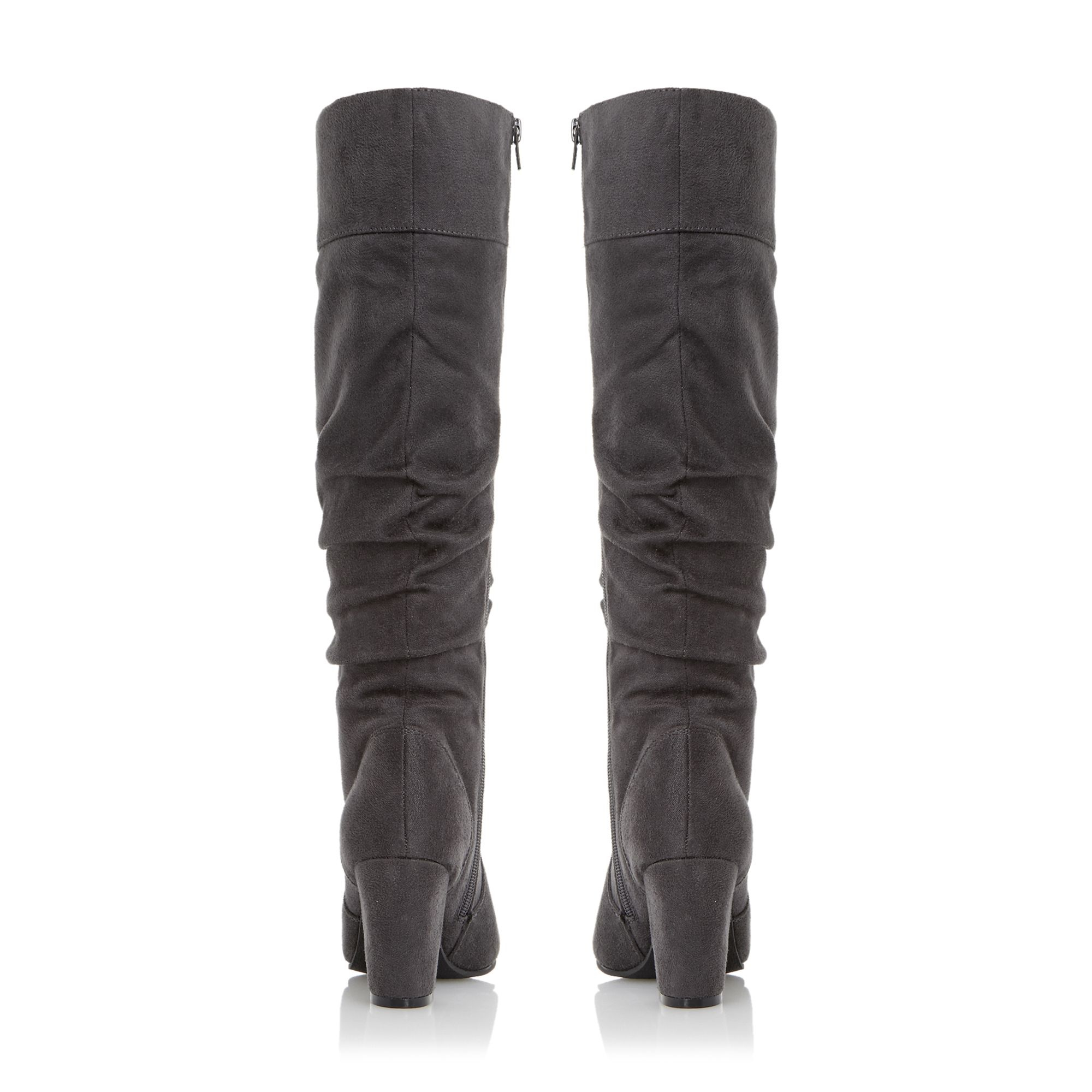 Dune Sadira Ruched Dressy Knee High Boots in Gray | Lyst
