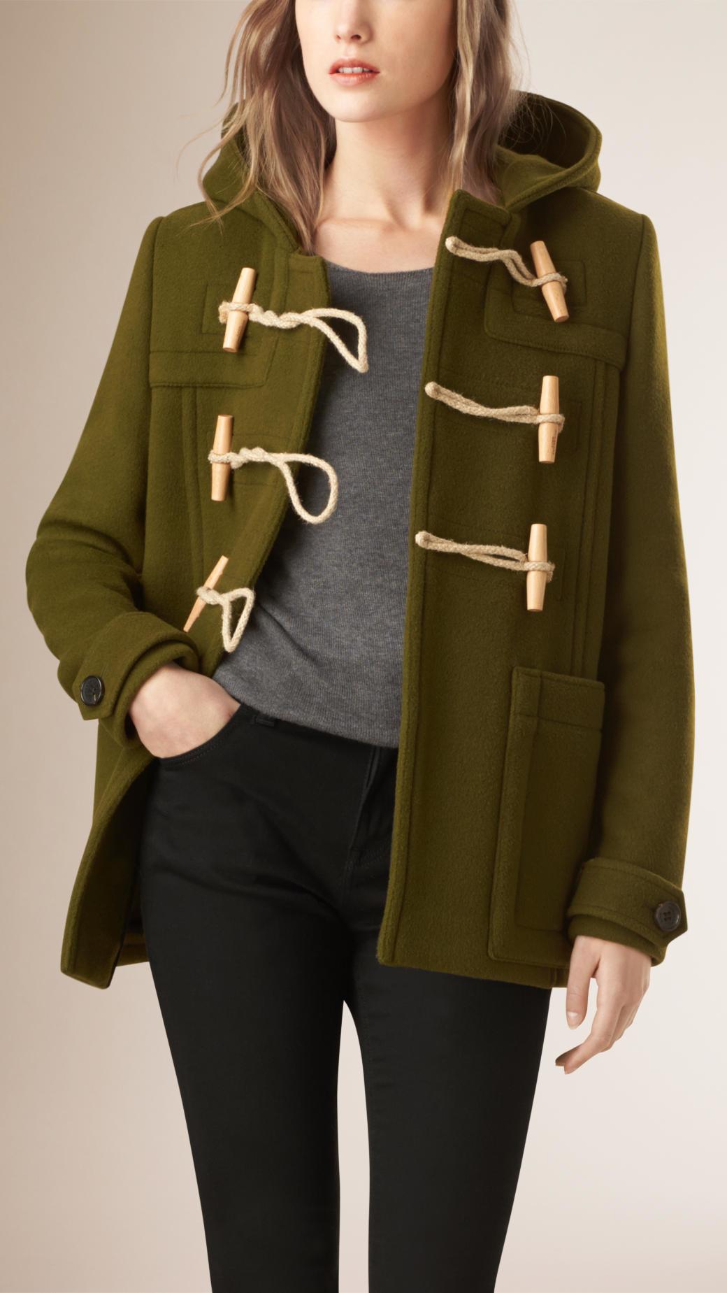 Burberry Hooded Wool Blend Duffle Coat in Green | Lyst