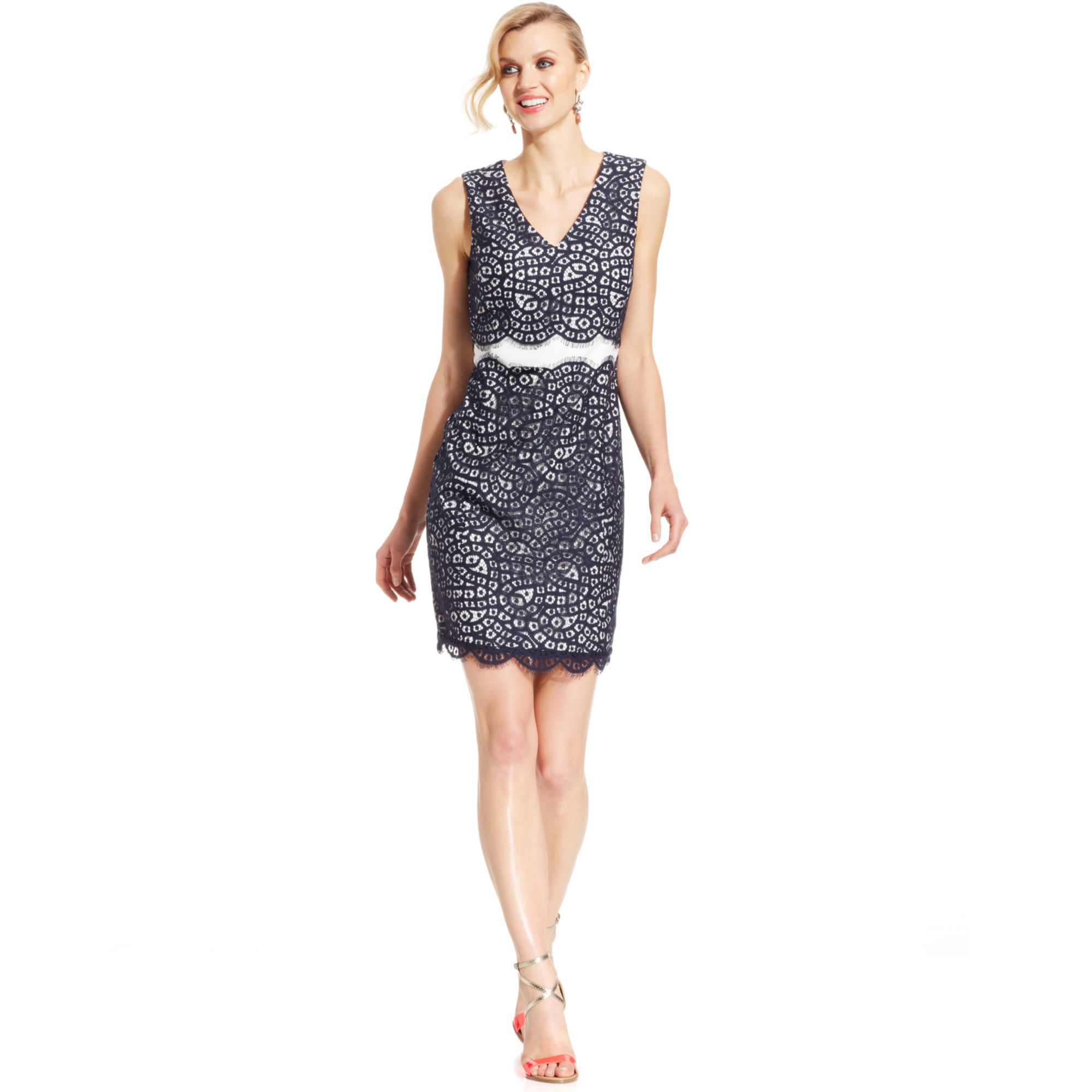 Ivanka trump Sleeveless Contrast-lace Sheath in Blue (Navy) | Lyst