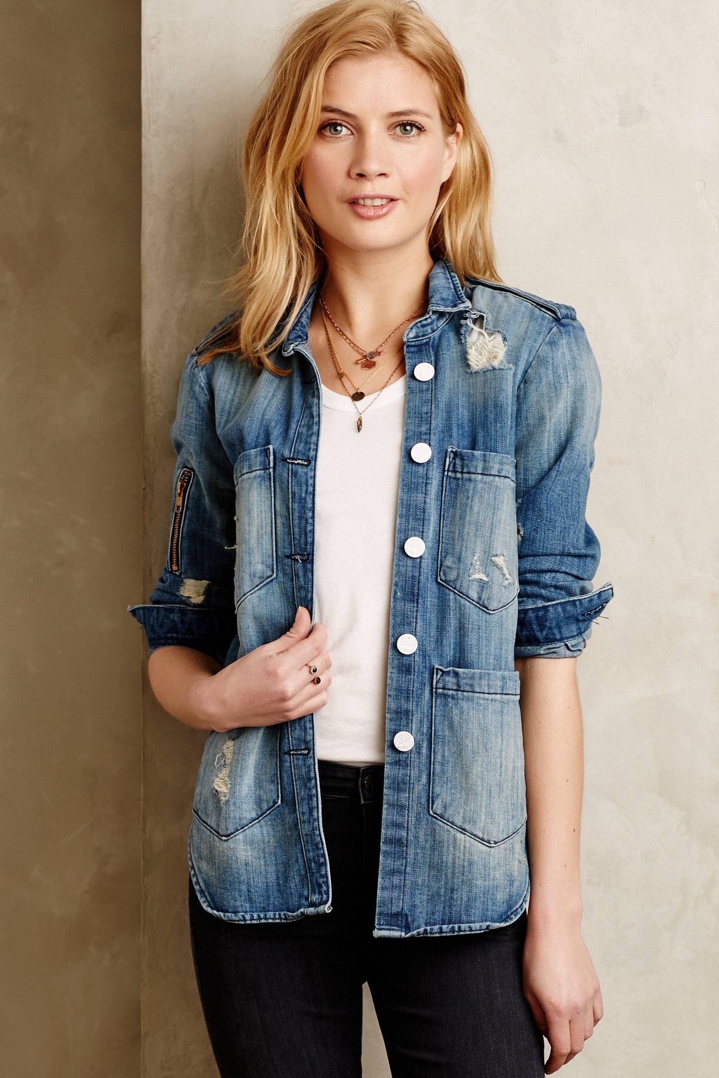 Lyst - Anthropologie Mcguire Denim Shirt Jacket in Blue
