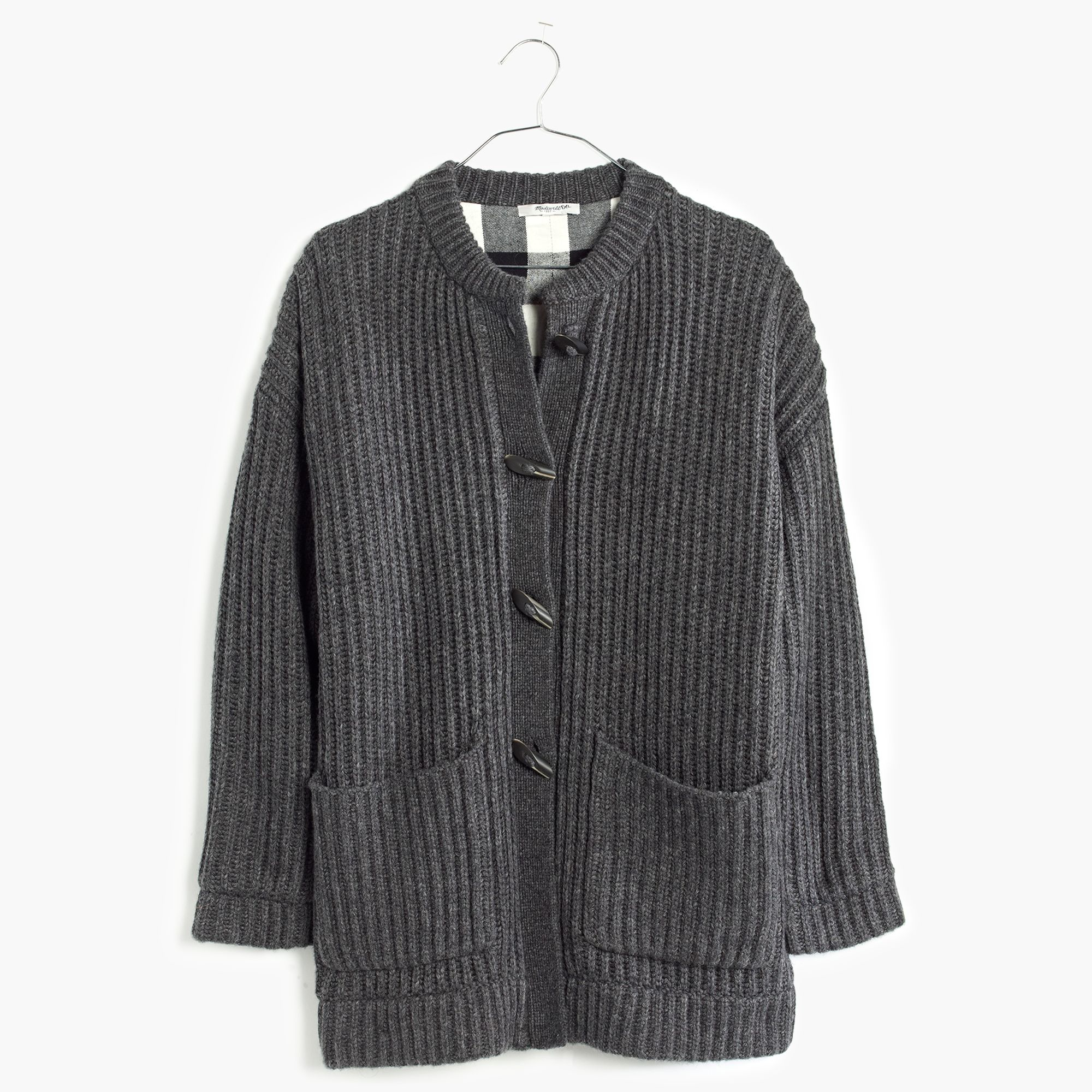 Madewell Plaid-lined Sweater-coat in Black | Lyst