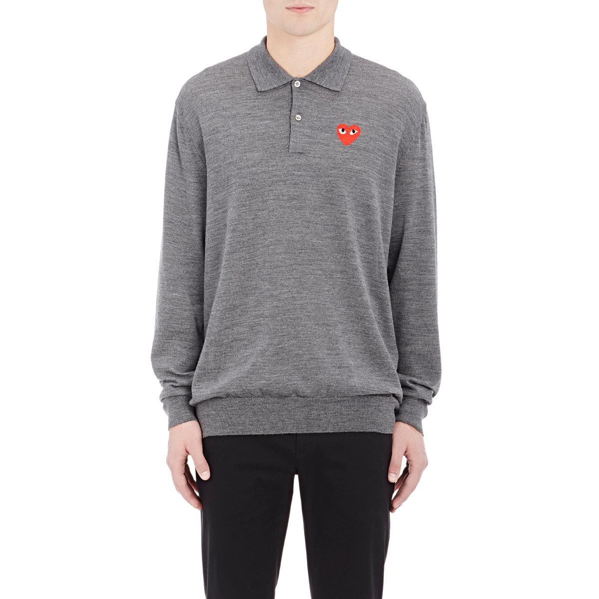 2074650e0 Play Comme des Garçons Men s Knit Long-sleeve Polo Shirt in Gray for ...