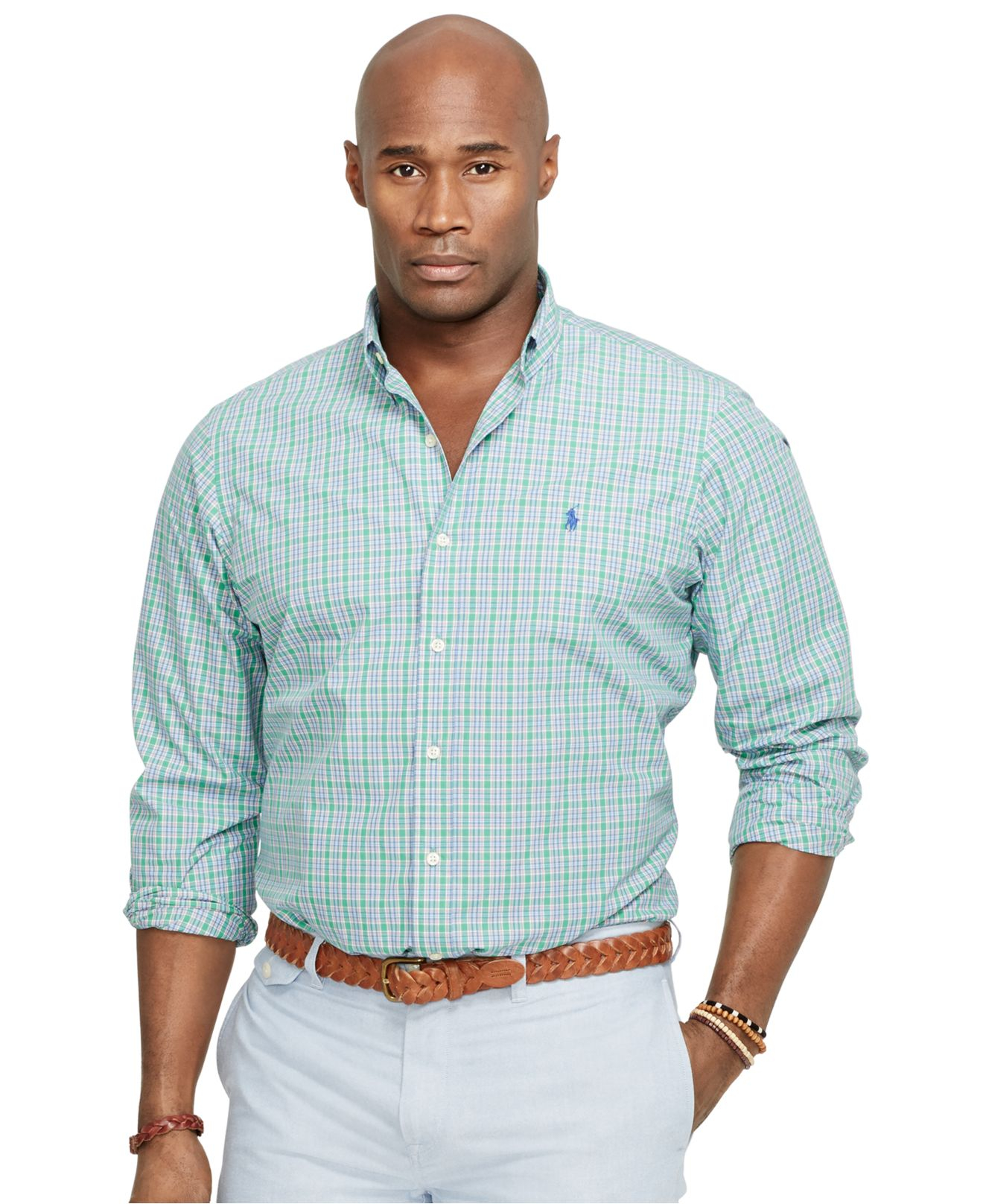 Ralph lauren customfit oxford shirt in blue for men lyst for Big and tall custom polo shirts