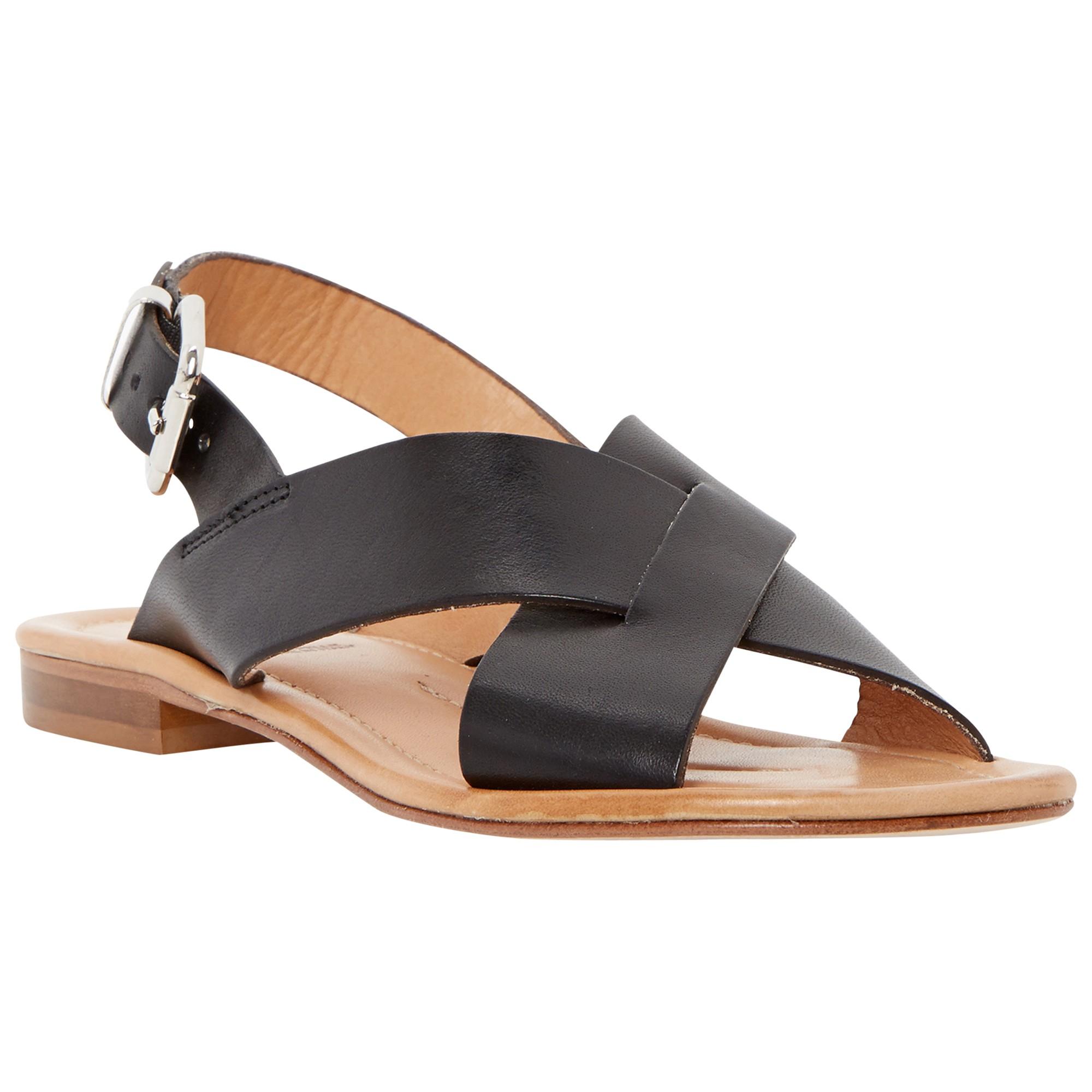 d294a8ce886a Dune Black Lois Flat Cross Strap Sandals in Black - Lyst