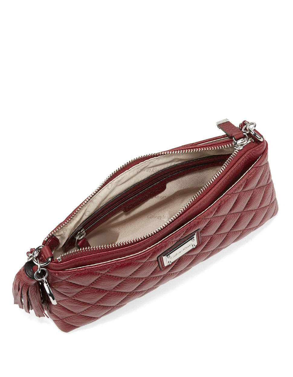 Calvin Klein Quilted Leather Crossbody In Red Lyst