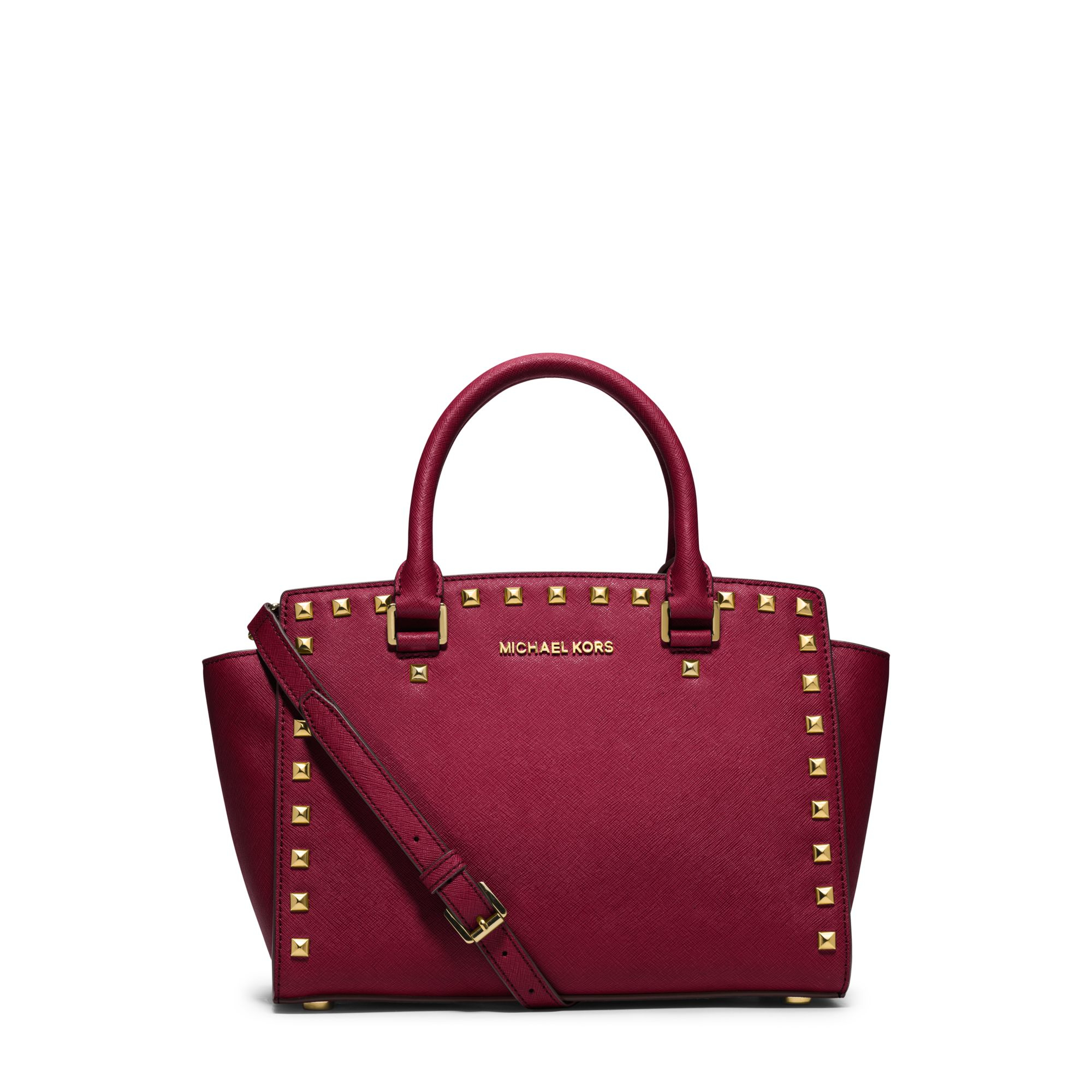 michael kors selma studded saffiano leather satchel in red lyst. Black Bedroom Furniture Sets. Home Design Ideas