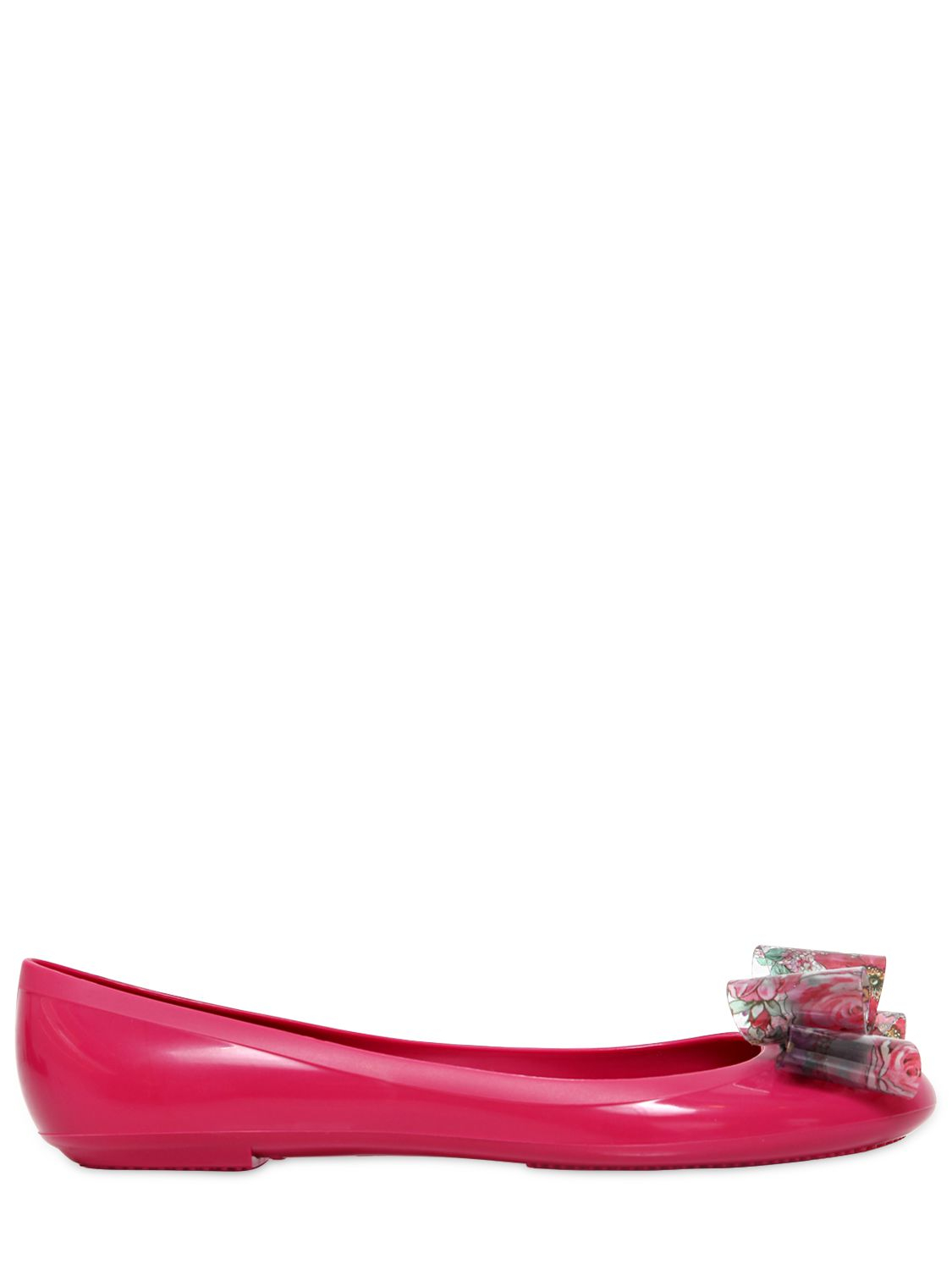 ded1ed75ed01 Lyst - RED Valentino Rubber Ballerina Flats with Floral Bow in Pink