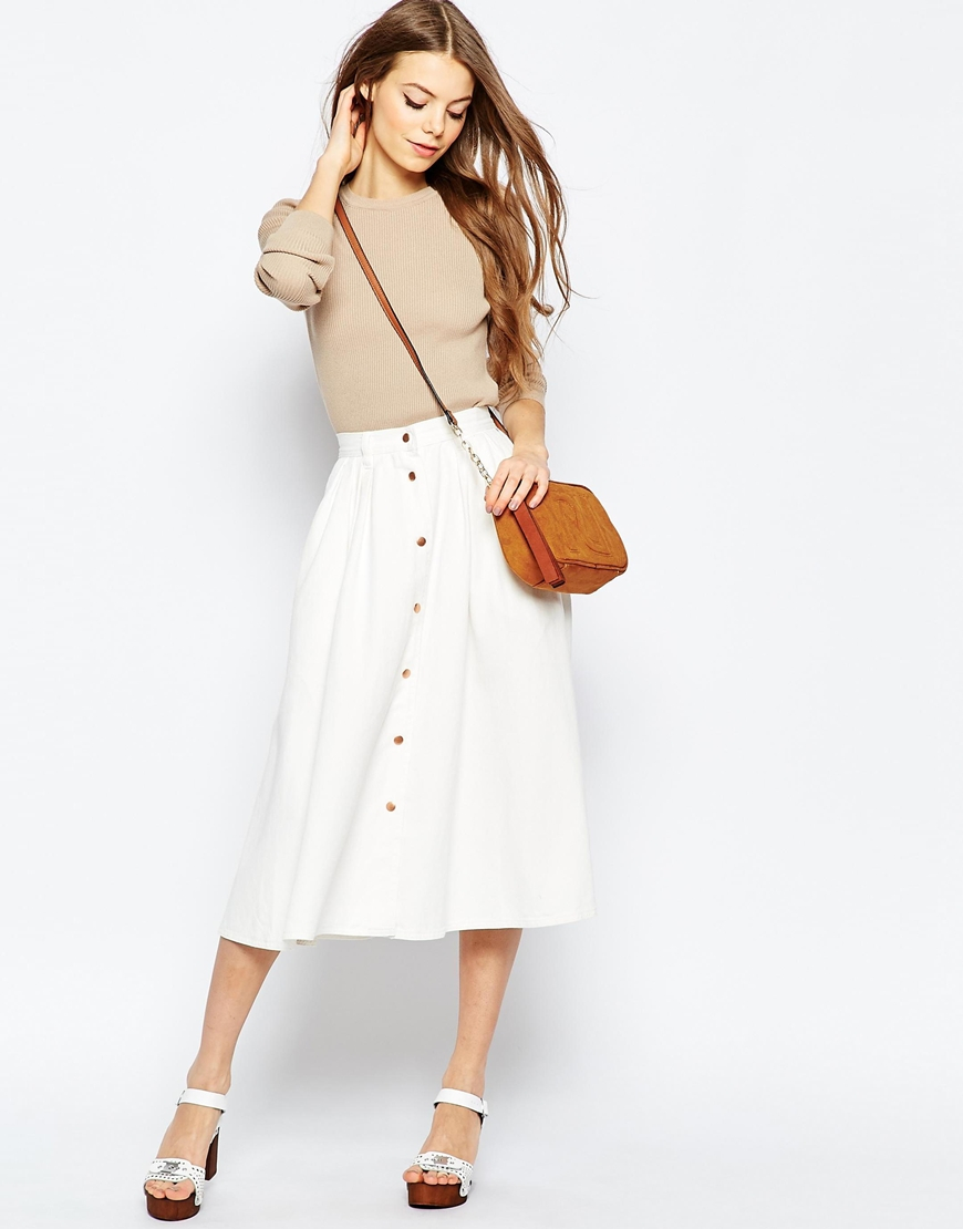 Asos Denim High Waisted Button Through Midi Skirt In White in ...