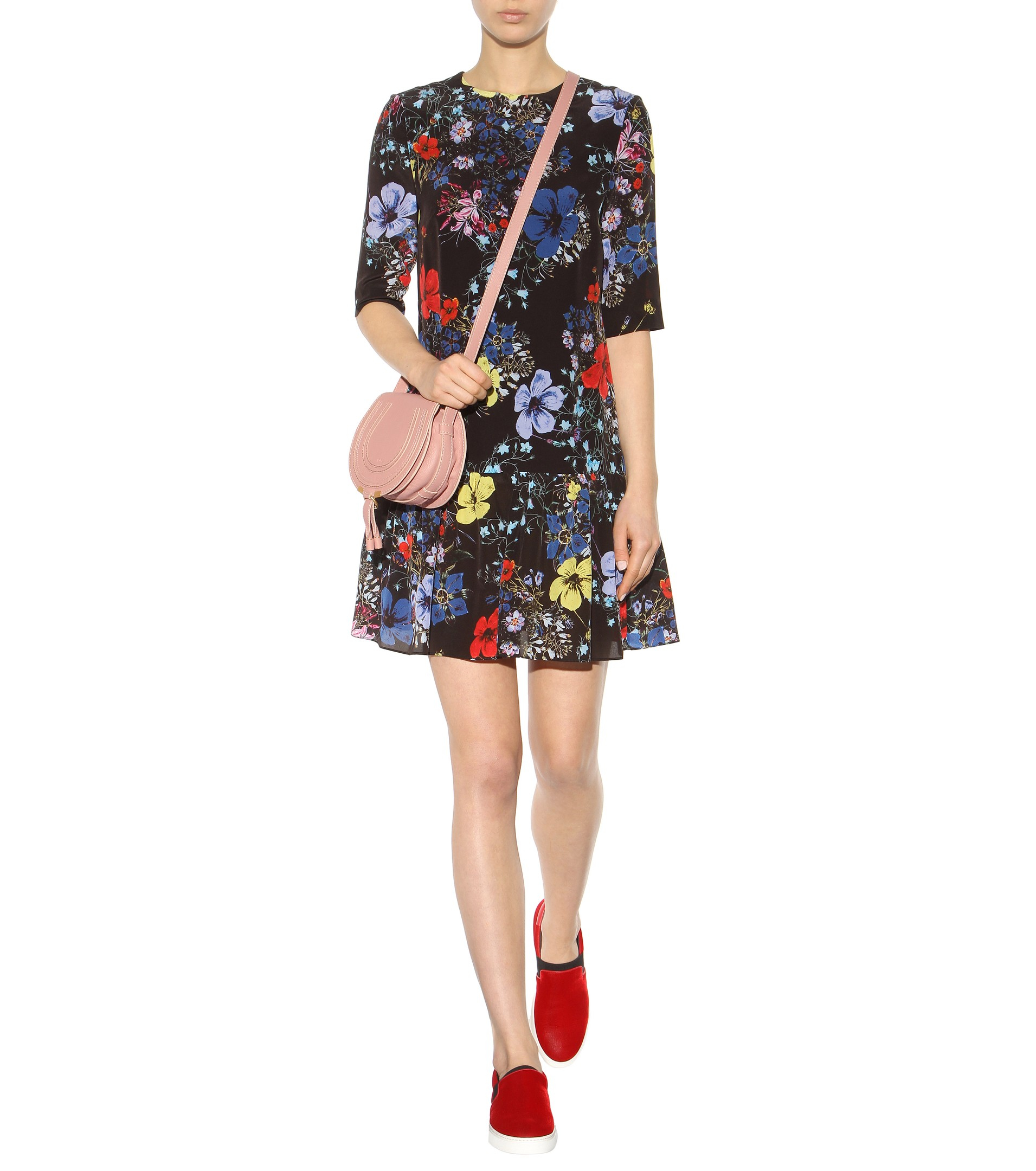 chloe red bag - Chlo�� Marcie Small Leather Shoulder Bag in Pink (Anemone Pink) | Lyst