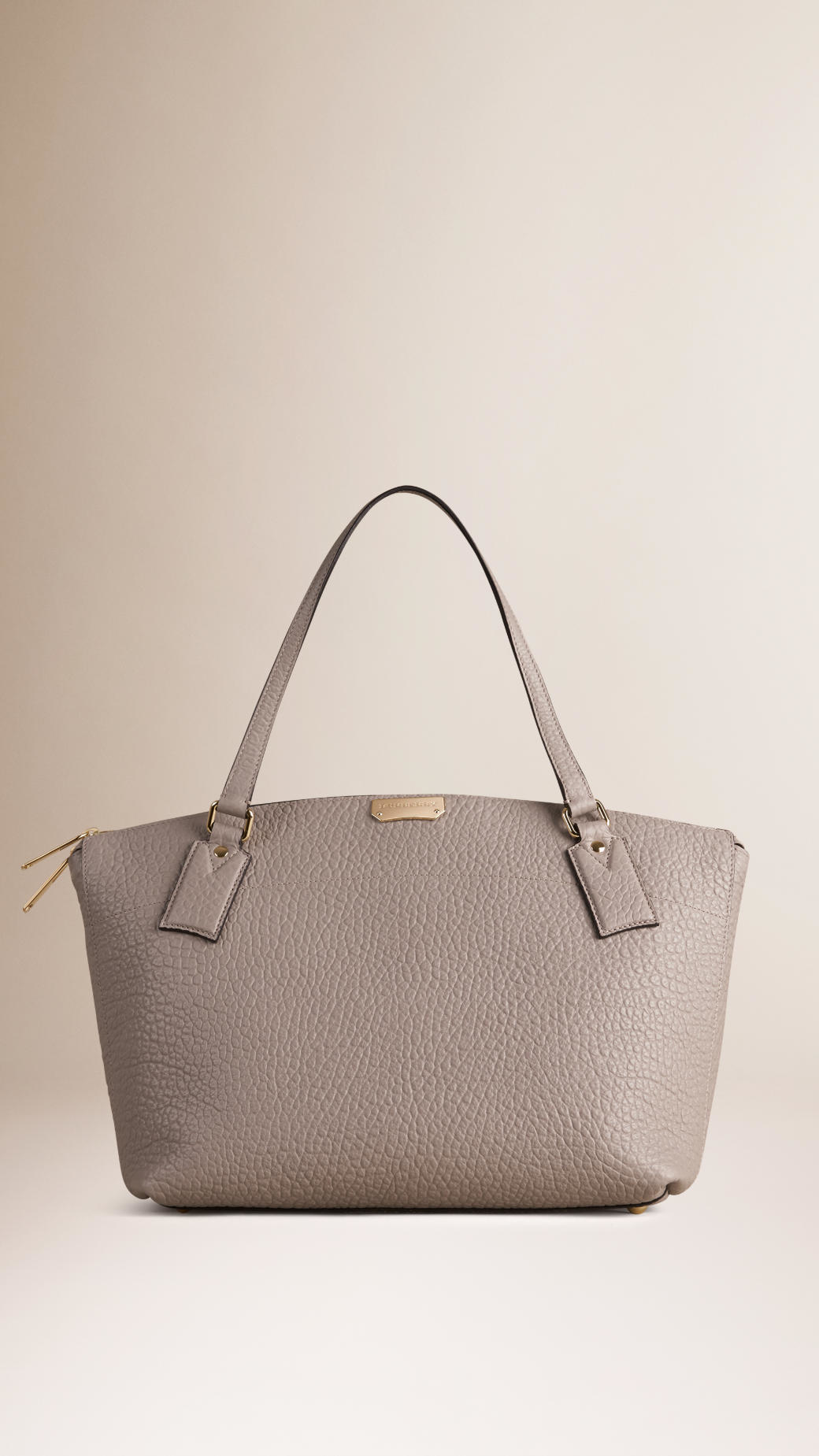 a609d1615fe1 Lyst - Burberry Medium Signature Grain Leather Tote Bag Pale Grey in ...