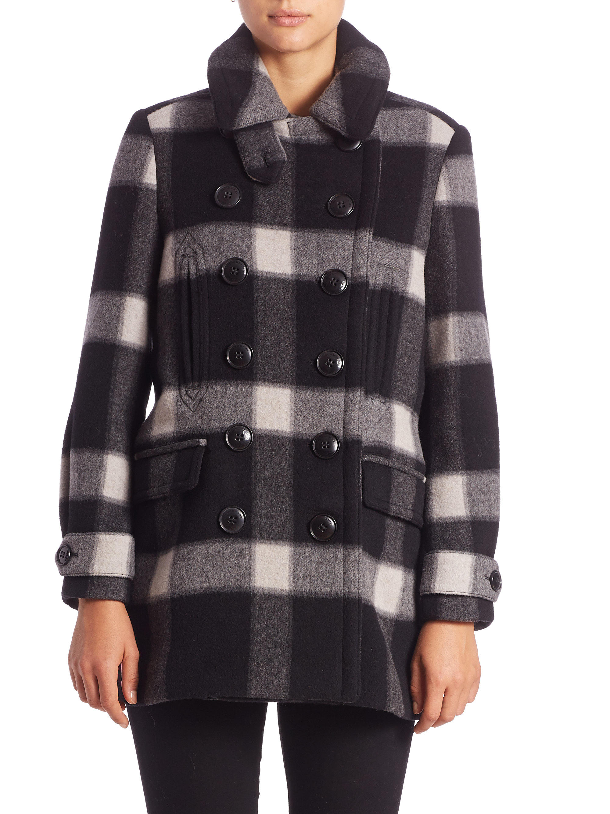 Burberry brit weltford plaid peacoat in black lyst for Burberry brit green plaid shirt
