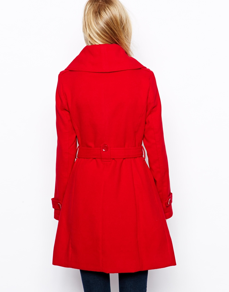 edb40a216eb1 Lyst - Oasis Tokyo Cowl Coat in Red